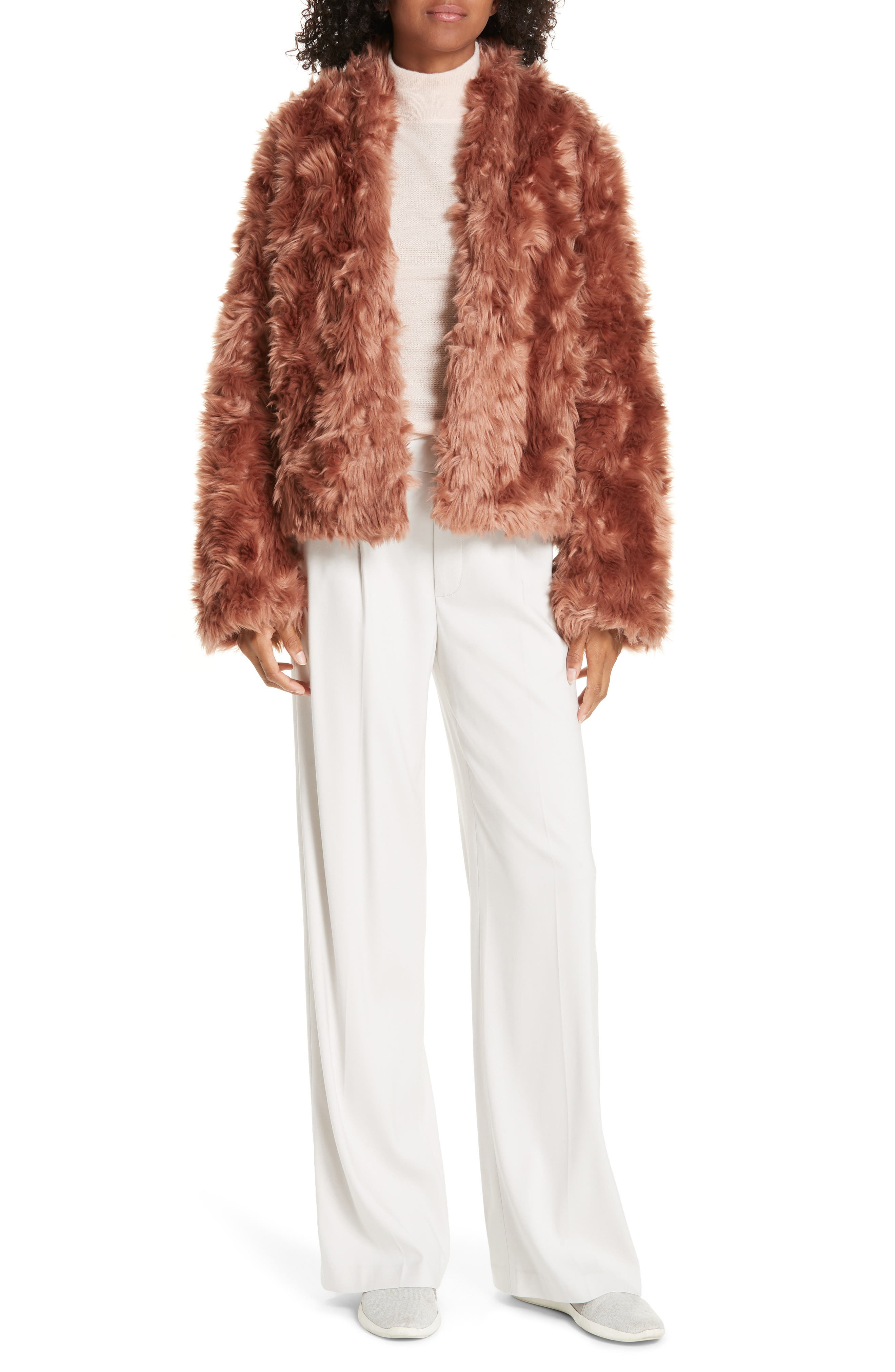 VINCE, Plush Faux Fur Jacket, Alternate thumbnail 8, color, PINK UMBER