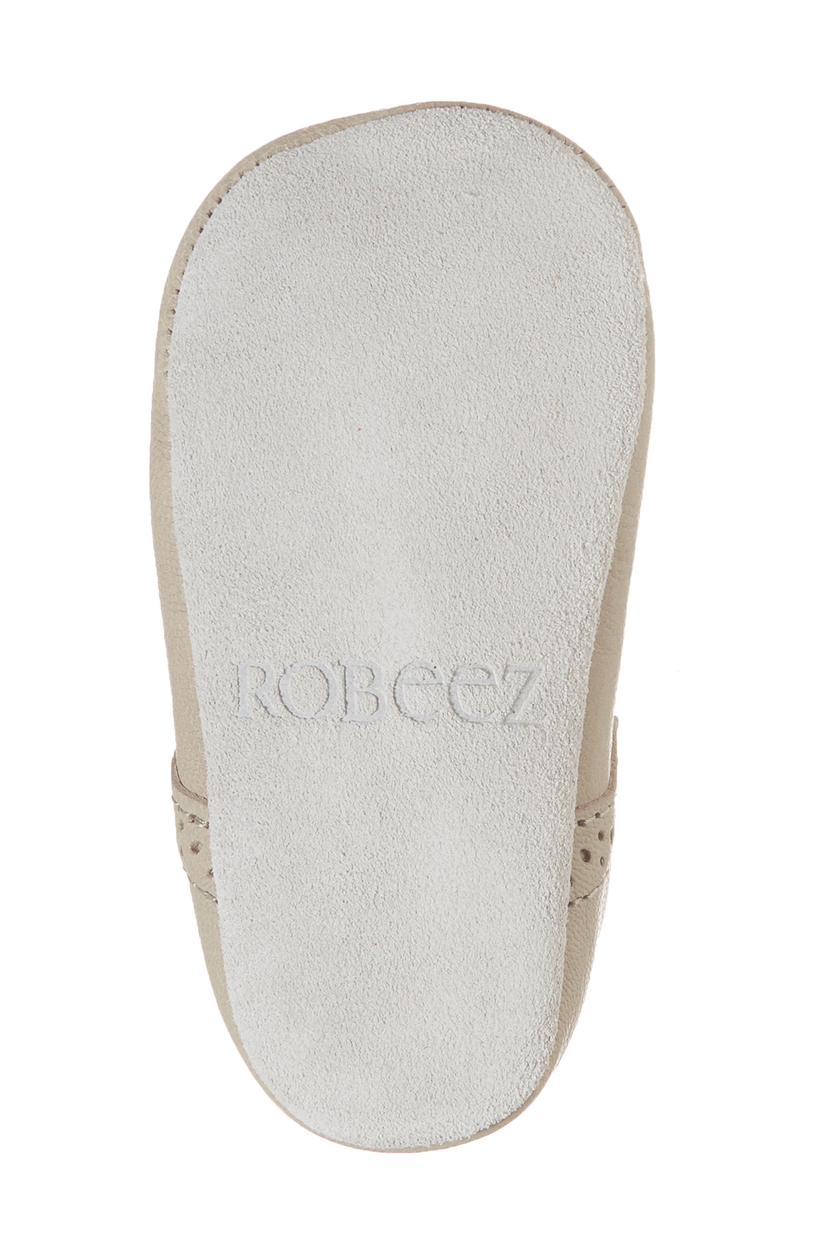 ROBEEZ<SUP>®</SUP>, Penny T-Strap Mary Jane Crib Shoe, Alternate thumbnail 6, color, TAUPE