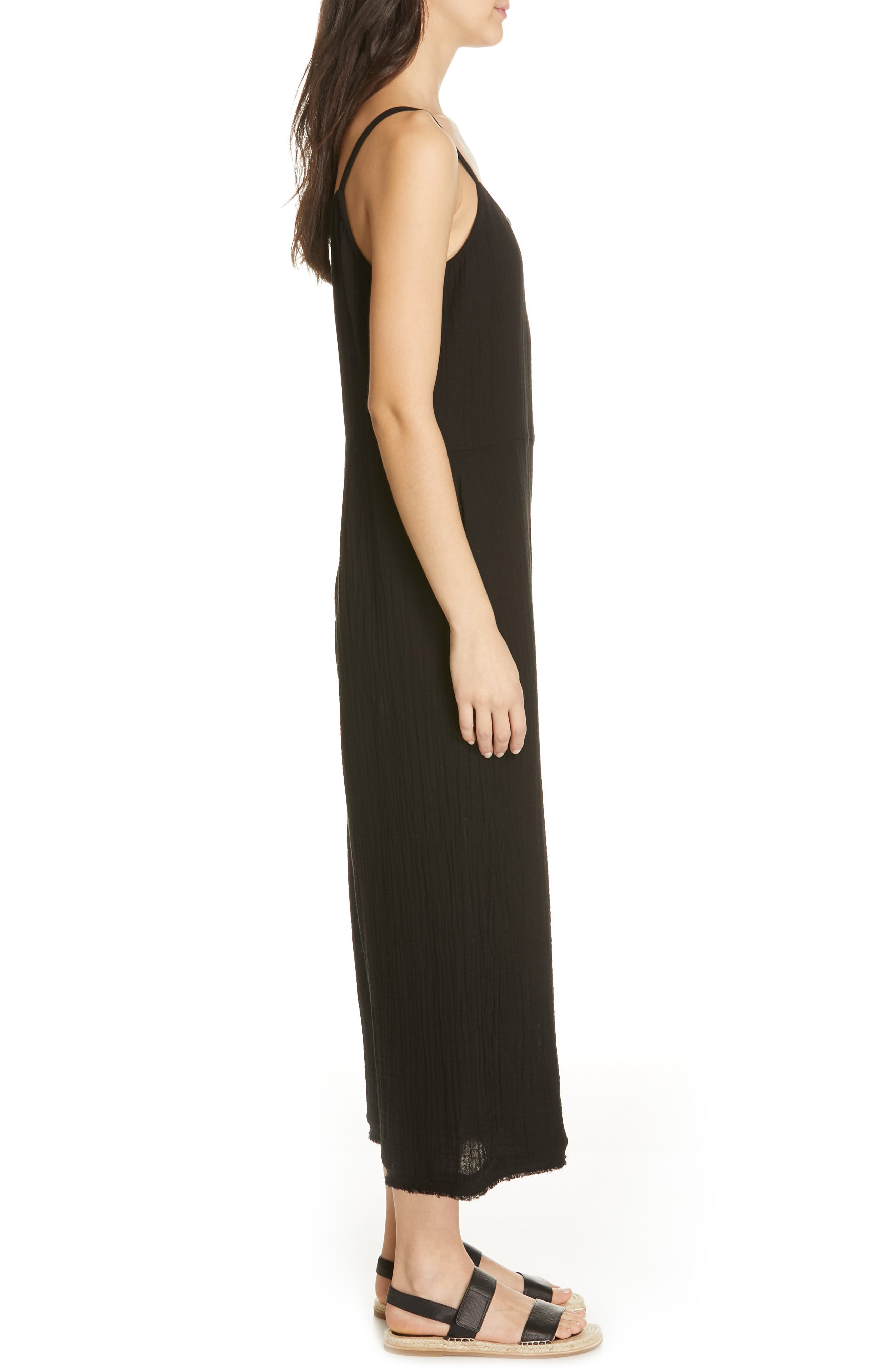 EILEEN FISHER, Camisole Jumpsuit, Alternate thumbnail 4, color, 001