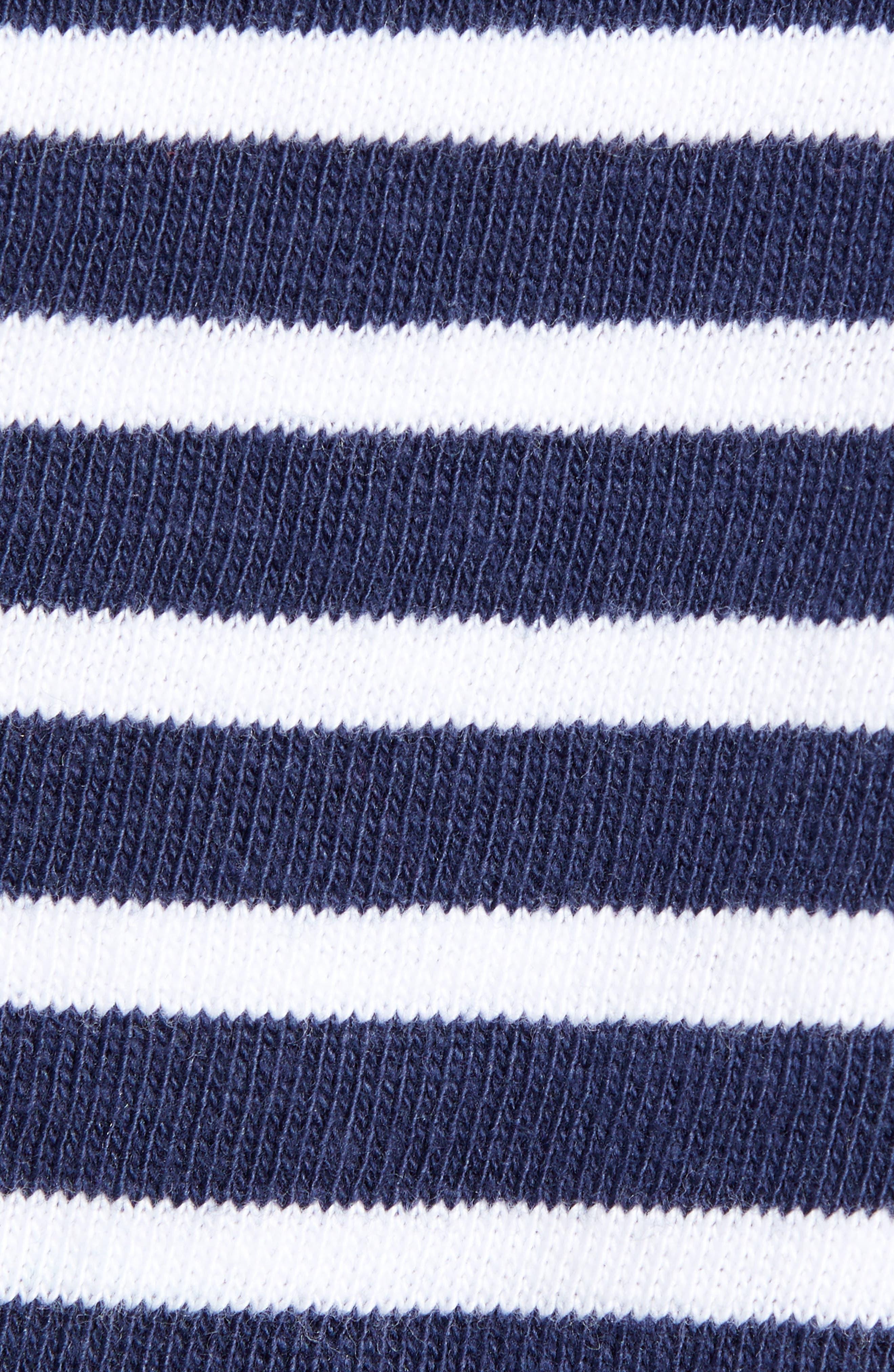 CASLON<SUP>®</SUP>, Knit One-Button Blazer, Alternate thumbnail 7, color, NAVY- WHITE STRIPE