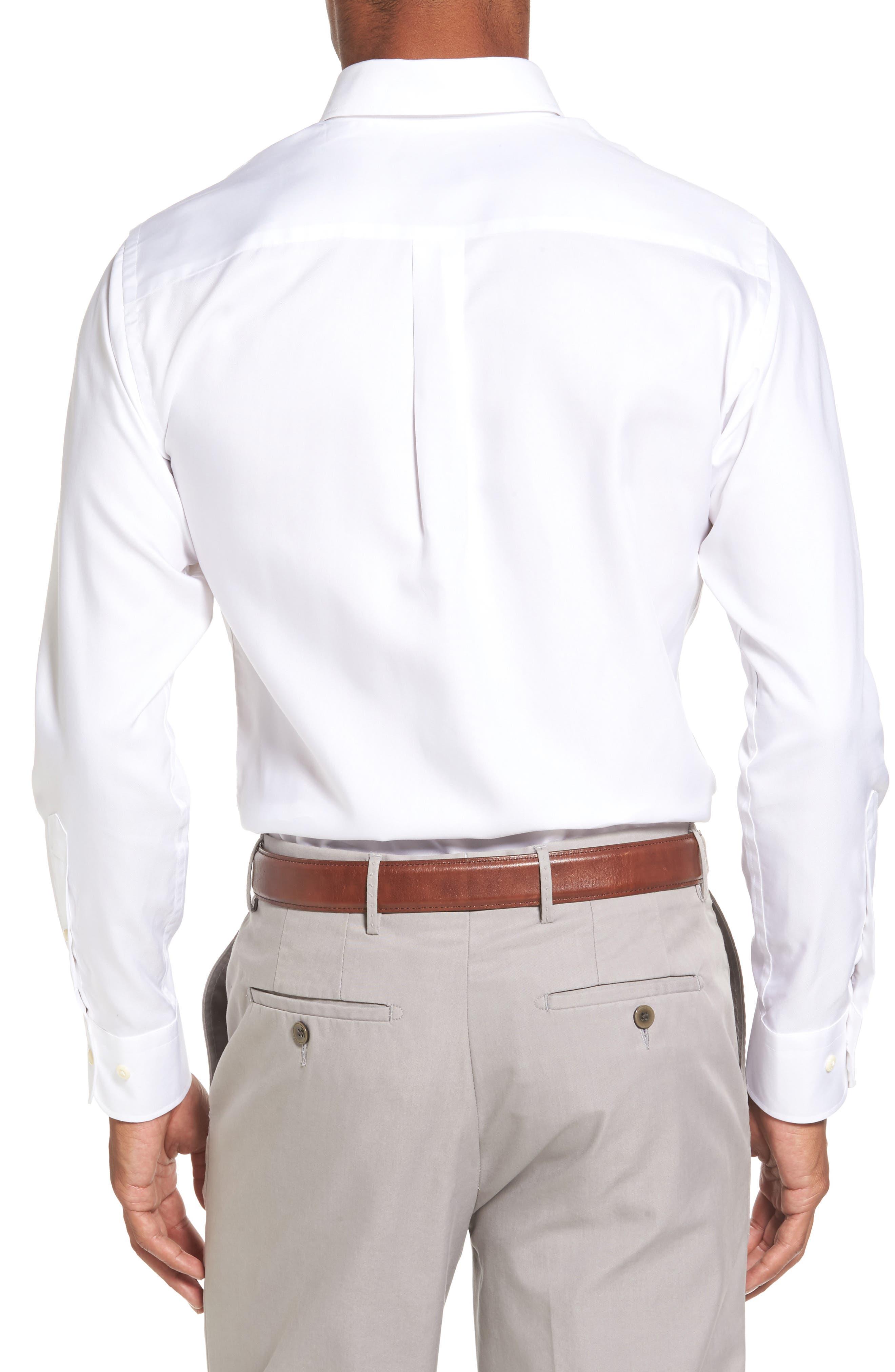 PETER MILLAR, Crown Soft Pinpoint Regular Fit Sport Shirt, Alternate thumbnail 2, color, WHITE
