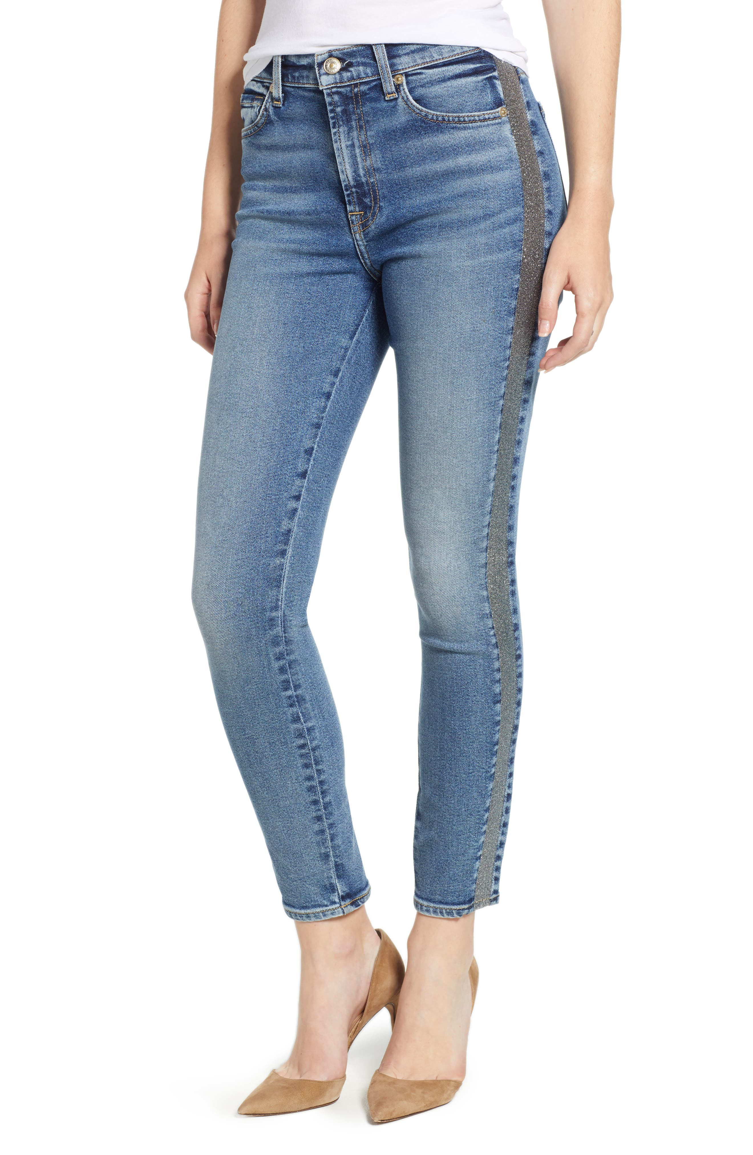 7 FOR ALL MANKIND<SUP>®</SUP> Luxe Vintage Side Stripe High Waist Ankle Skinny Jeans, Main, color, 401