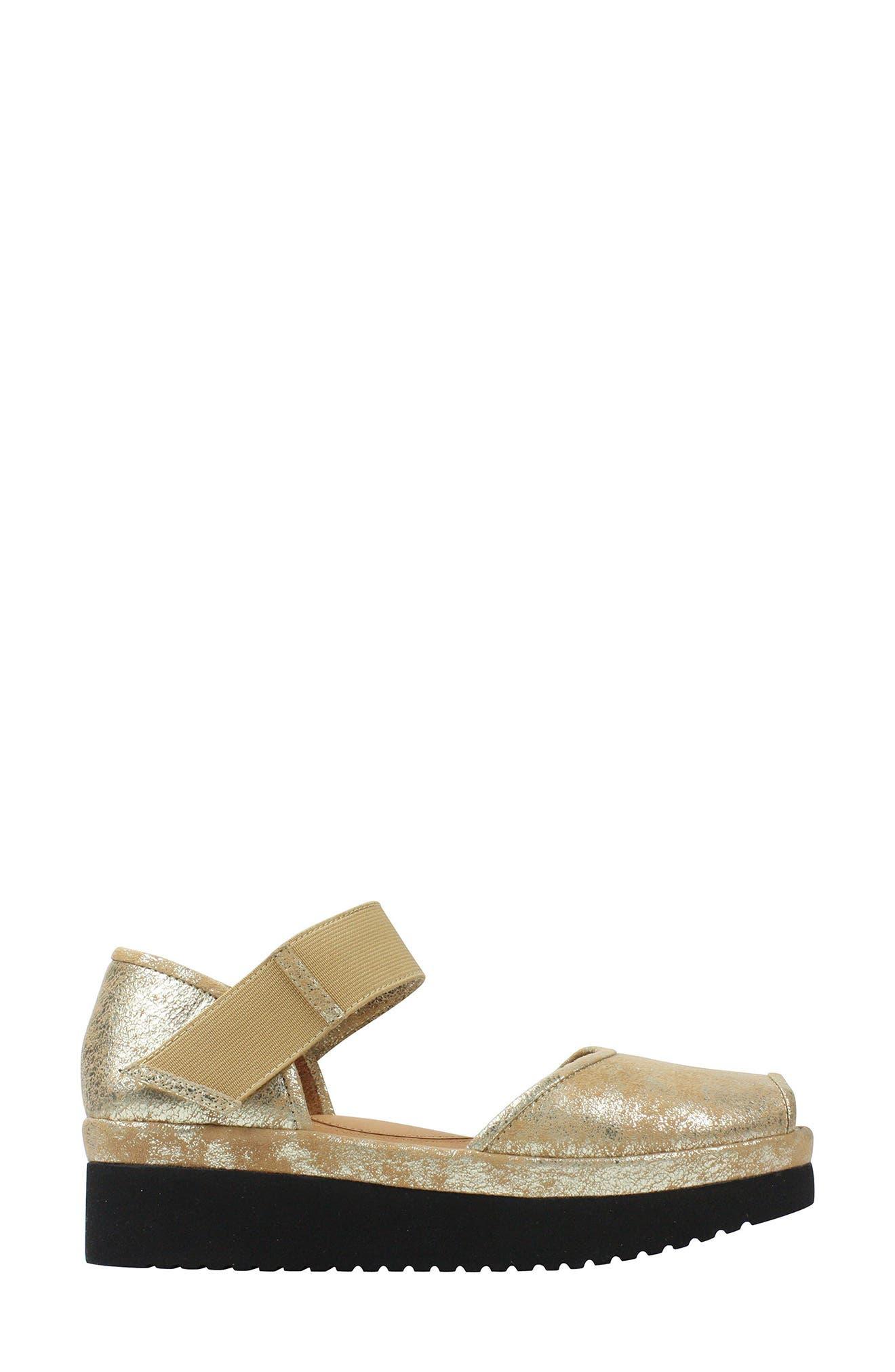 L'AMOUR DES PIEDS, 'Amadour' Platform Sandal, Alternate thumbnail 3, color, GOLD LEATHER