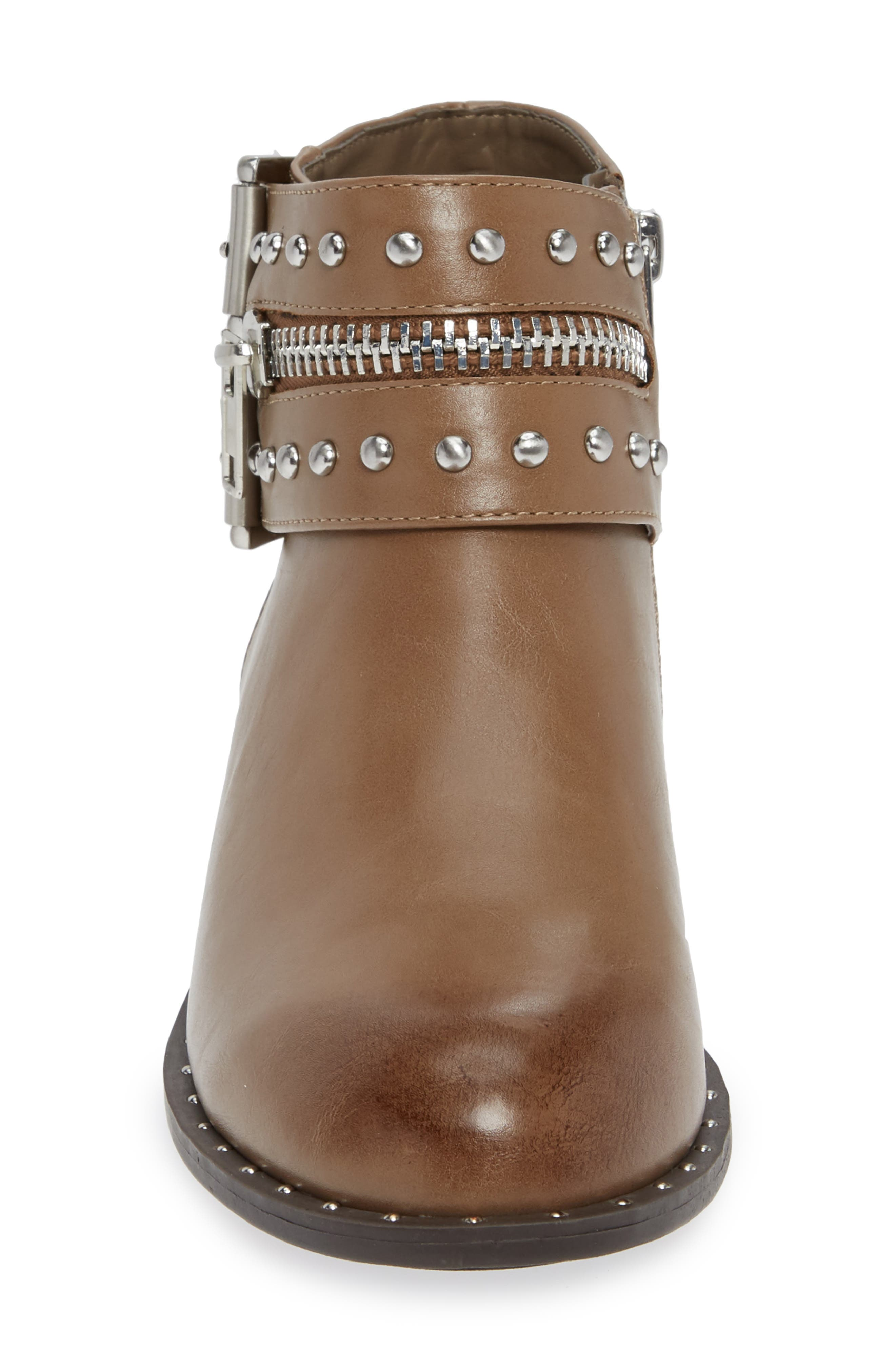 CHARLES BY CHARLES DAVID, Thief Studded Bootie, Alternate thumbnail 4, color, TAUPE SYNTHETIC