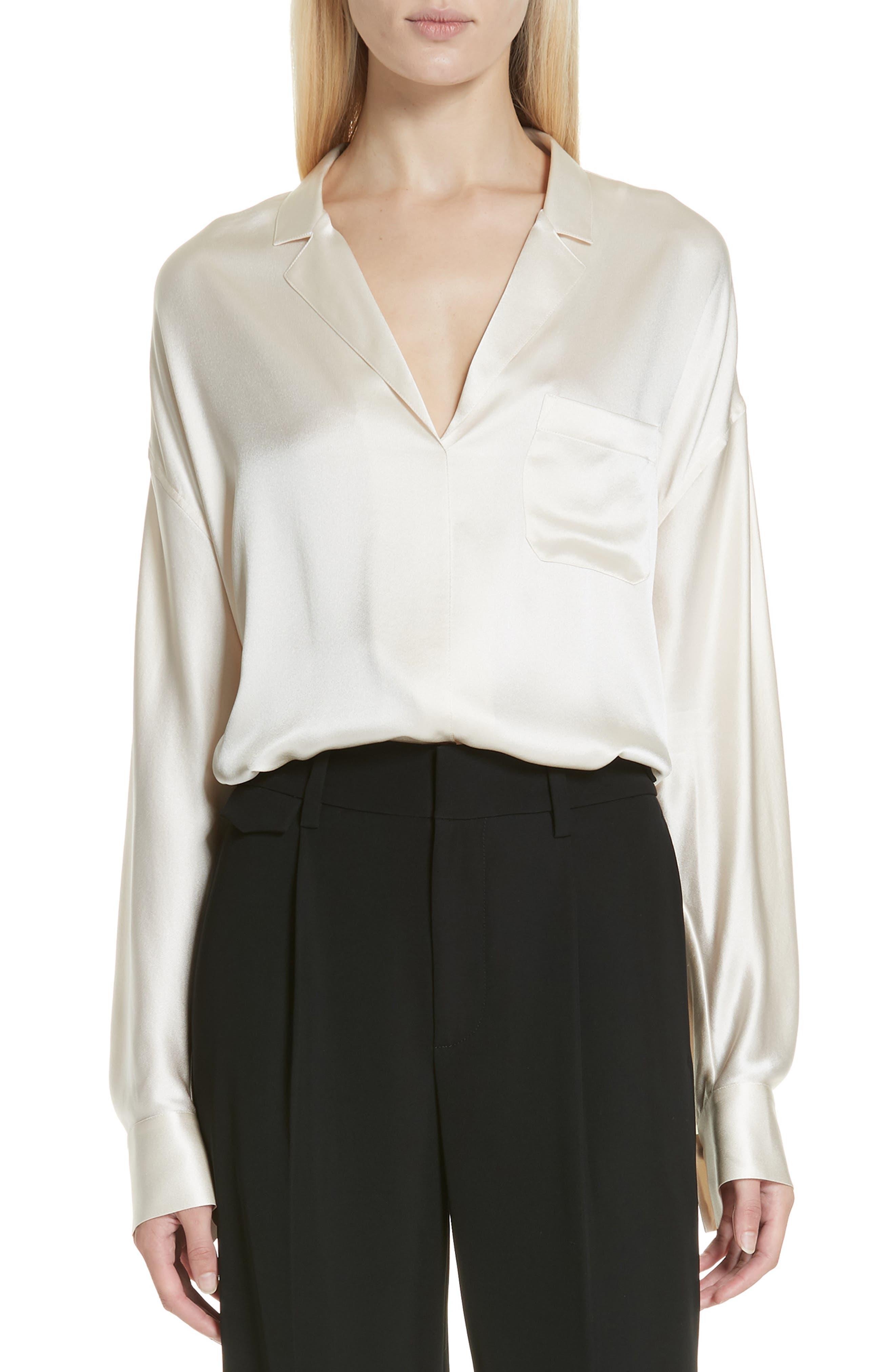 VINCE Silk Top, Main, color, CHIFFON