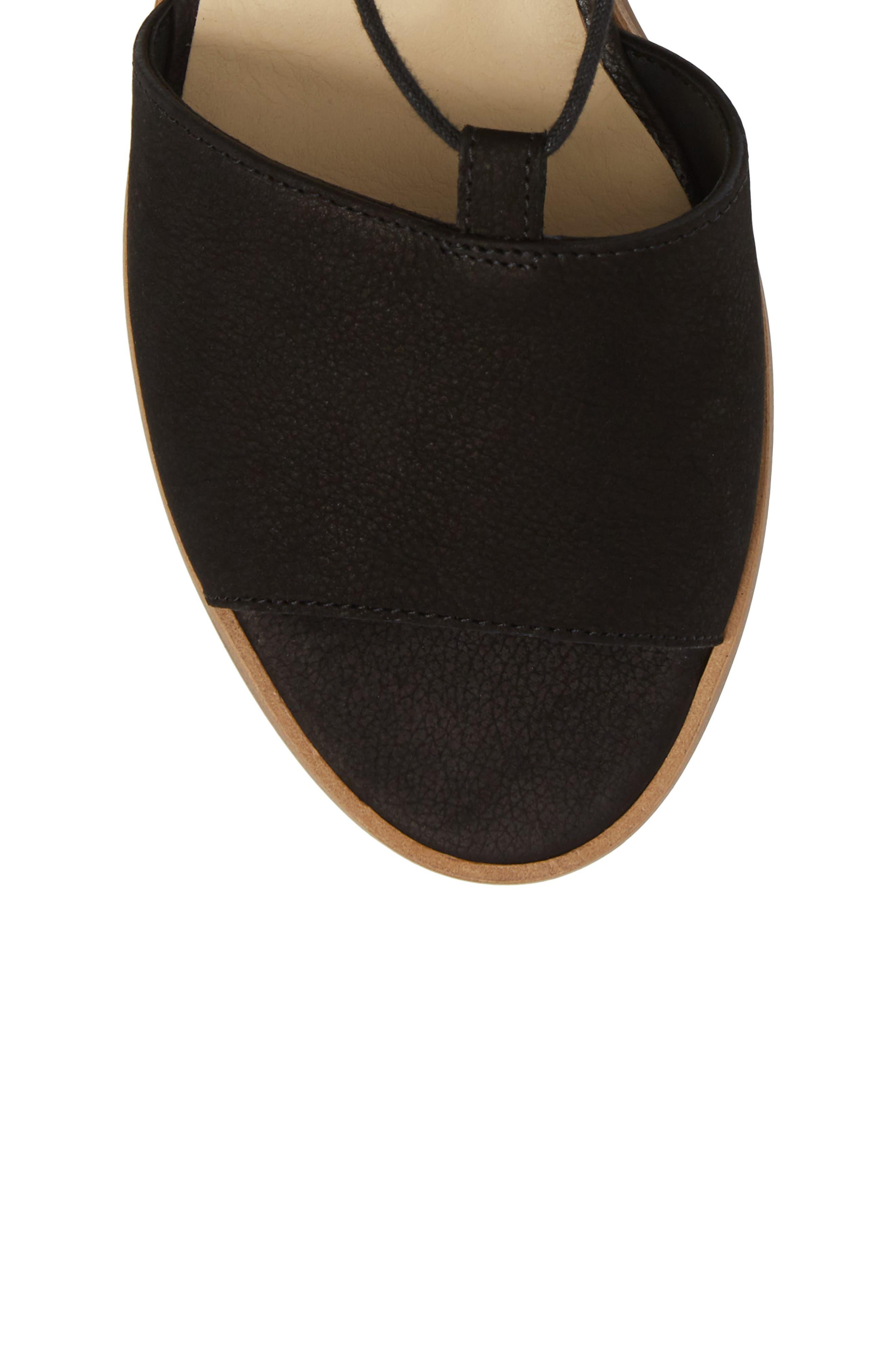 PAUL GREEN, Morea Lace-Up Sandal, Alternate thumbnail 5, color, BLACK LEATHER