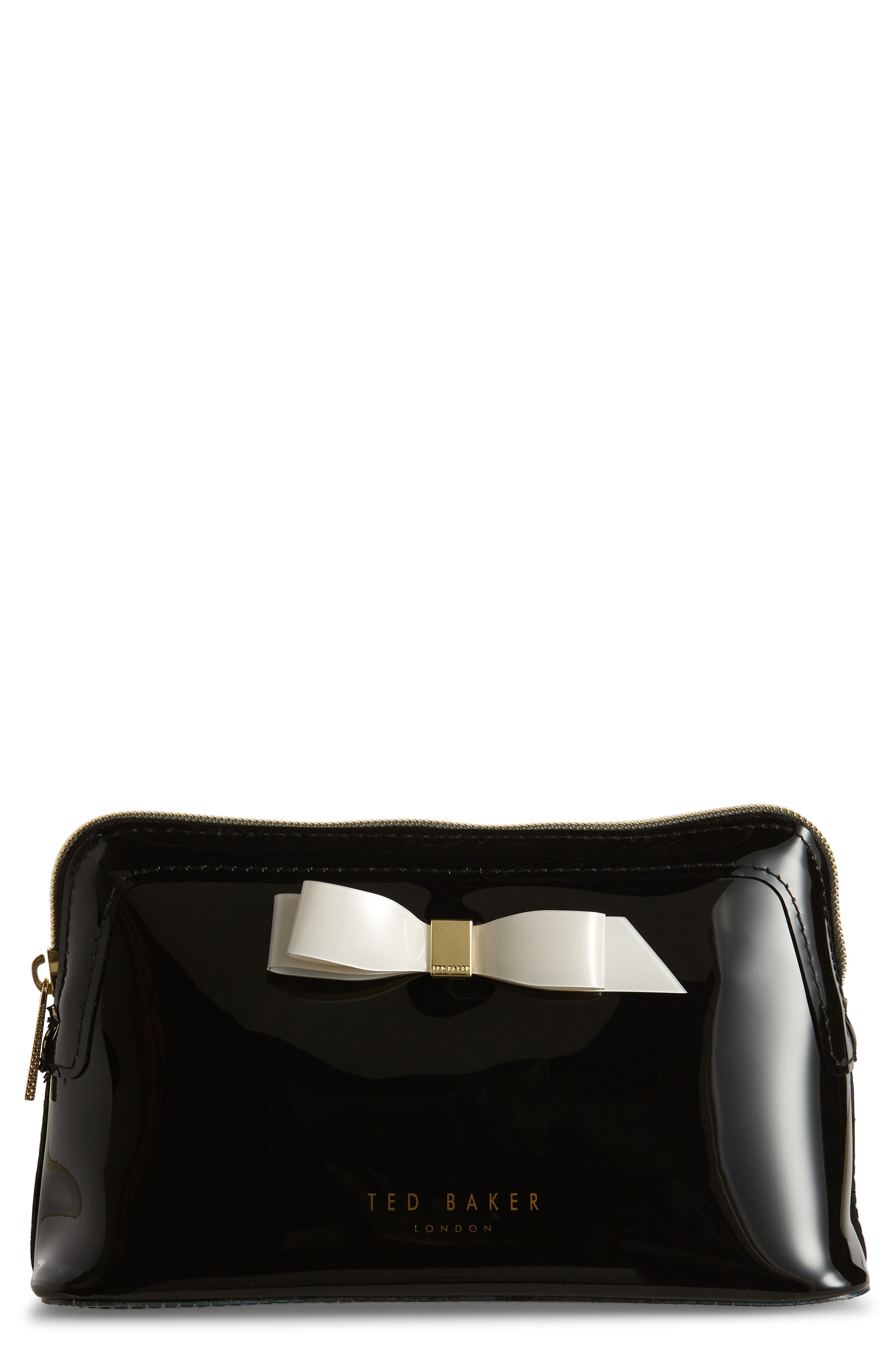 TED BAKER LONDON Cahira Bow Cosmetics Case, Main, color, BLACK