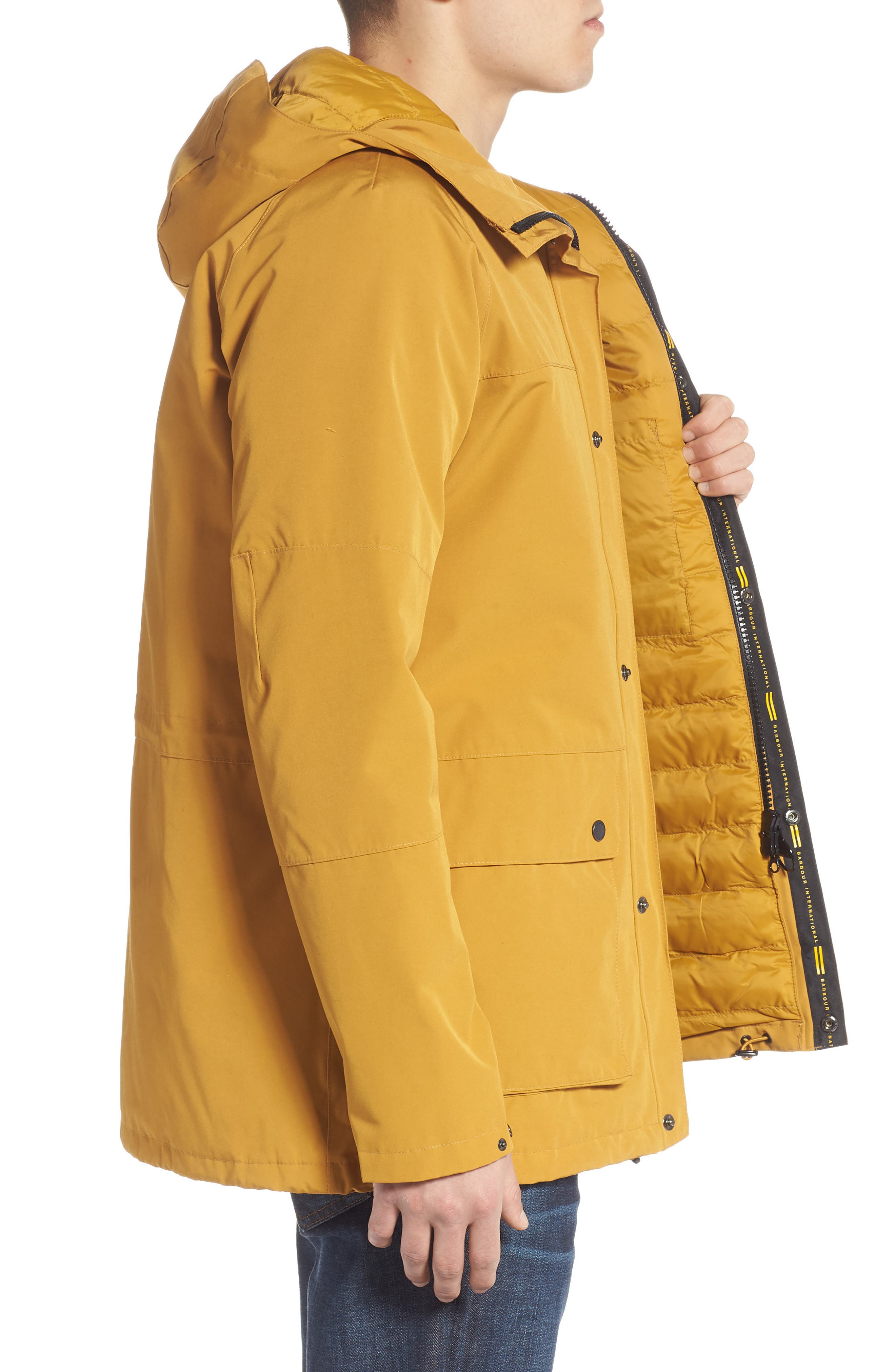 BARBOUR, Bi-Ridge Waterproof Hooded Jacket, Alternate thumbnail 3, color, YELLOW