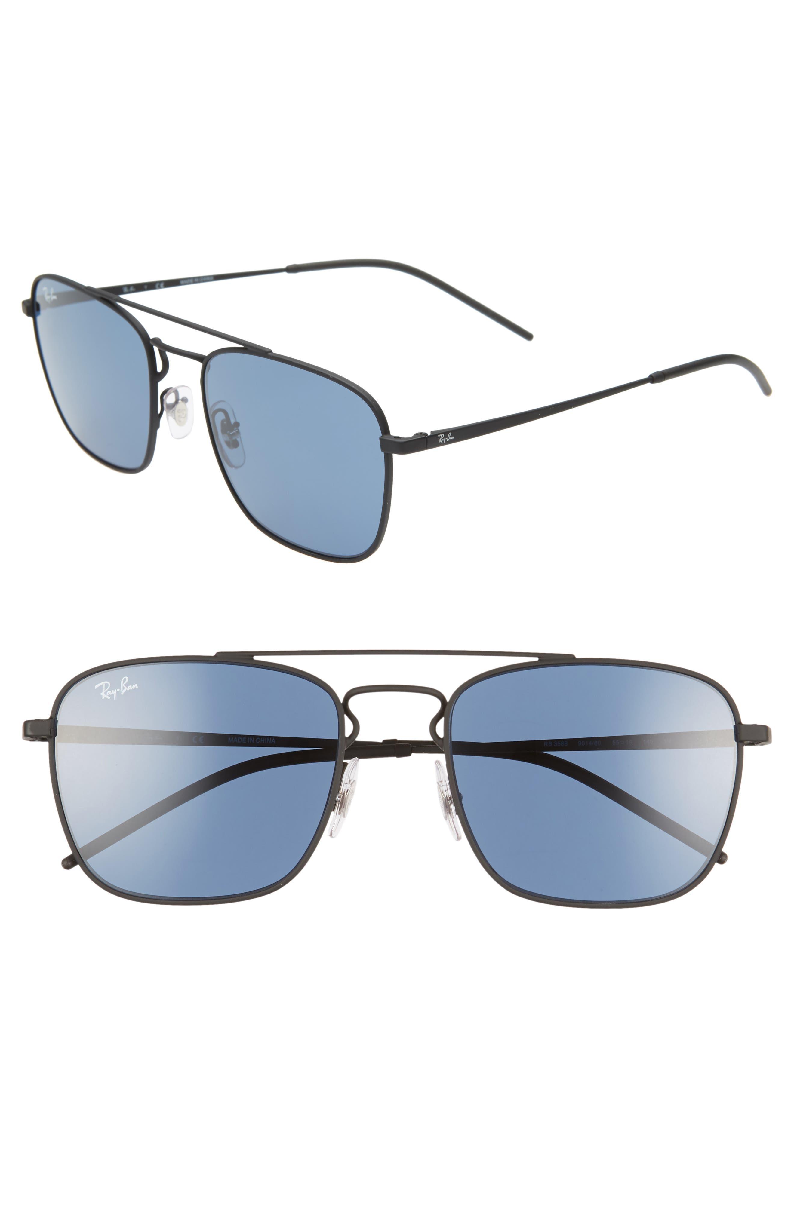 Ray-Ban 55Mm Navigator Sunglasses - Black/ Blue Solid