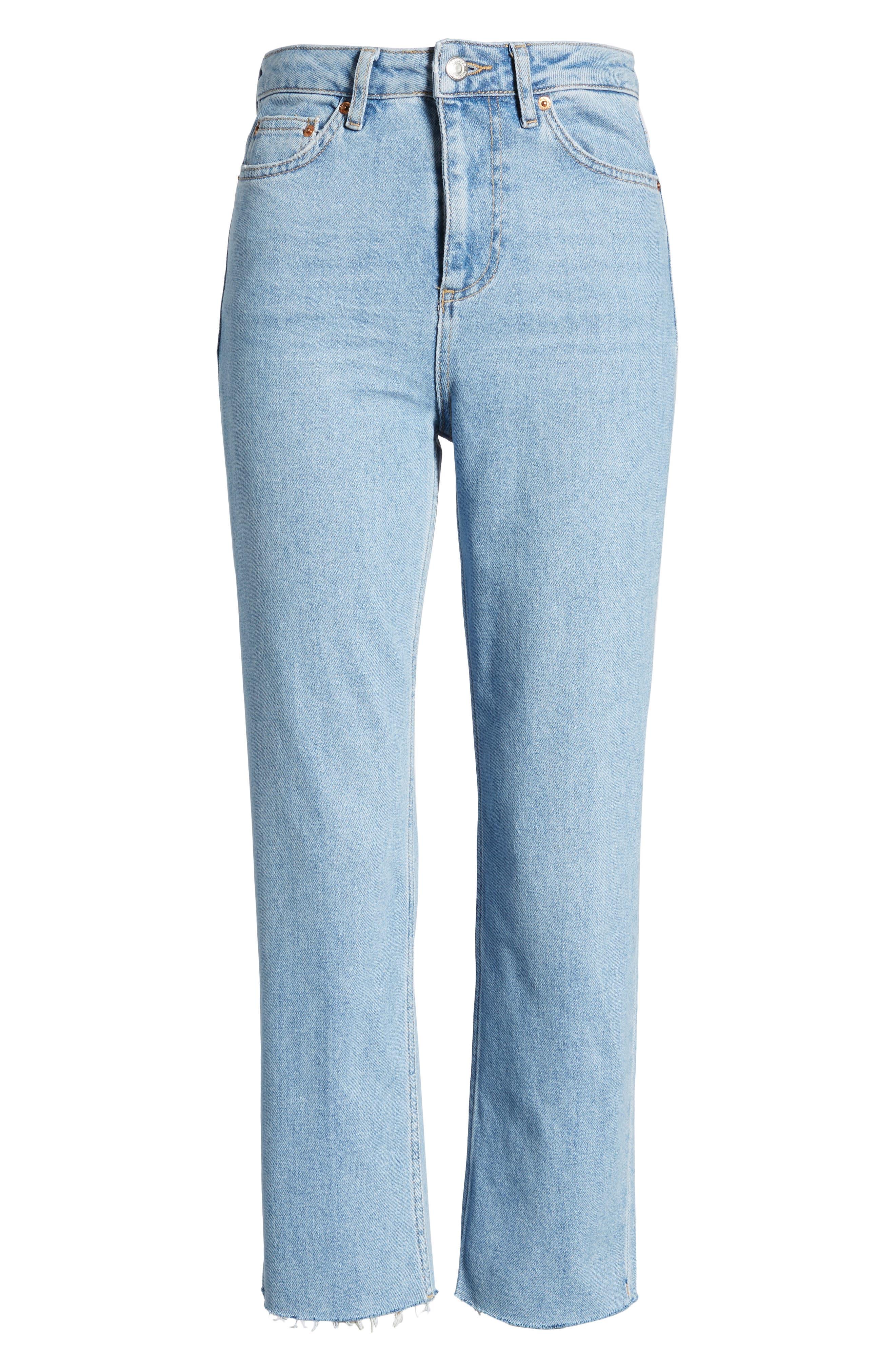 TOPSHOP, Raw Hem Straight Leg Jeans, Alternate thumbnail 7, color, BLEACH STONE DENIM