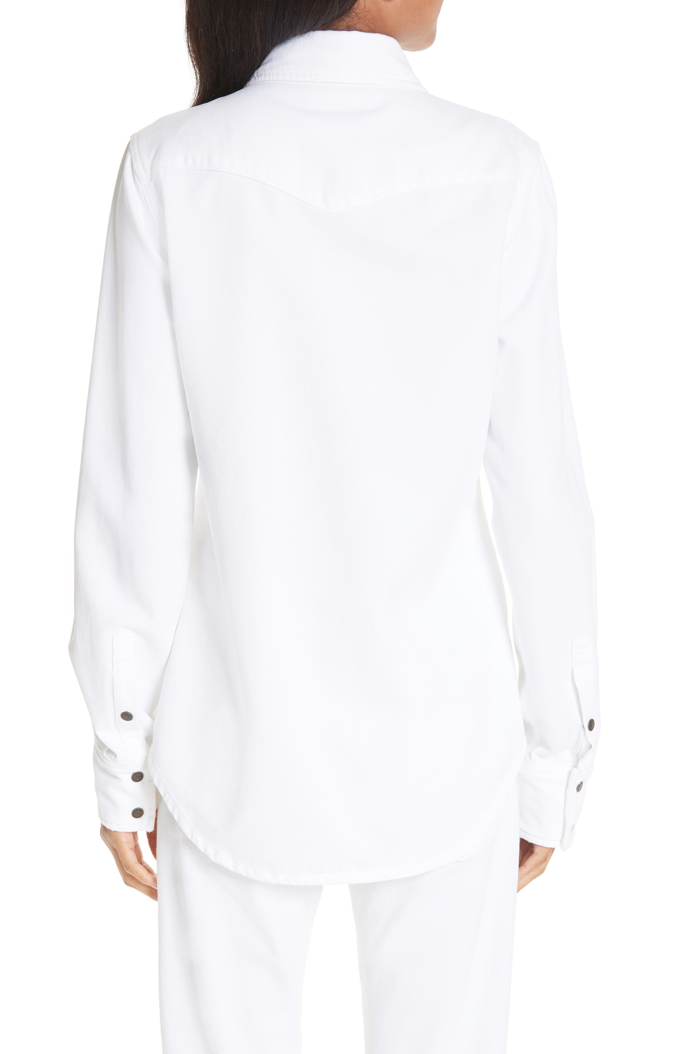 CALVIN KLEIN 205W39NYC, Denim Shirt, Alternate thumbnail 2, color, OPTIC WHITE