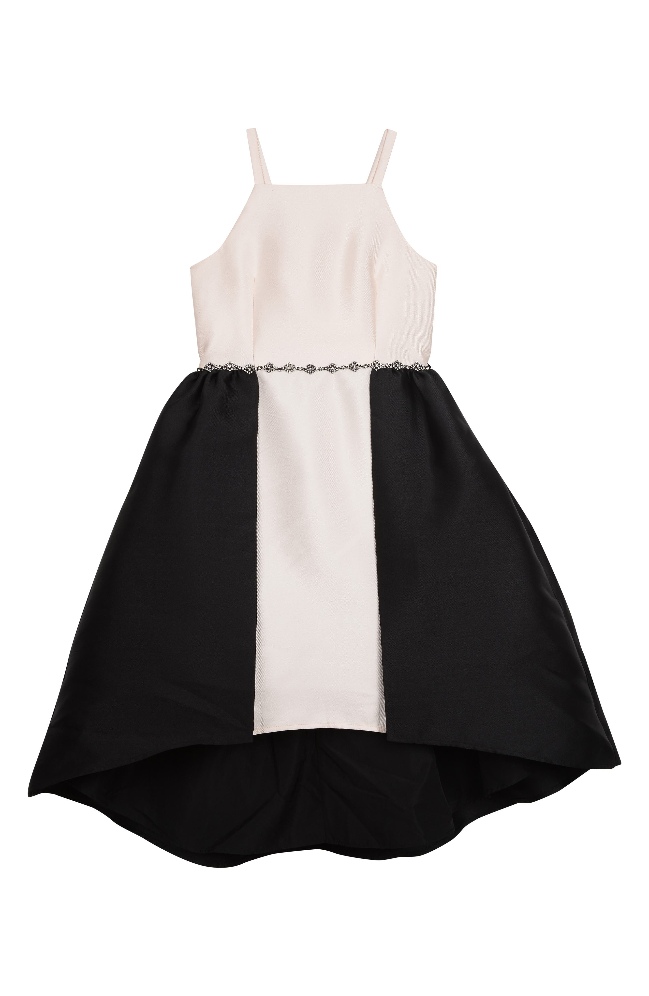 BADGLEY MISCHKA COLLECTION, Badgley Mischka Colorblock Sleeveless Dress, Main thumbnail 1, color, BLACK/ IVORY