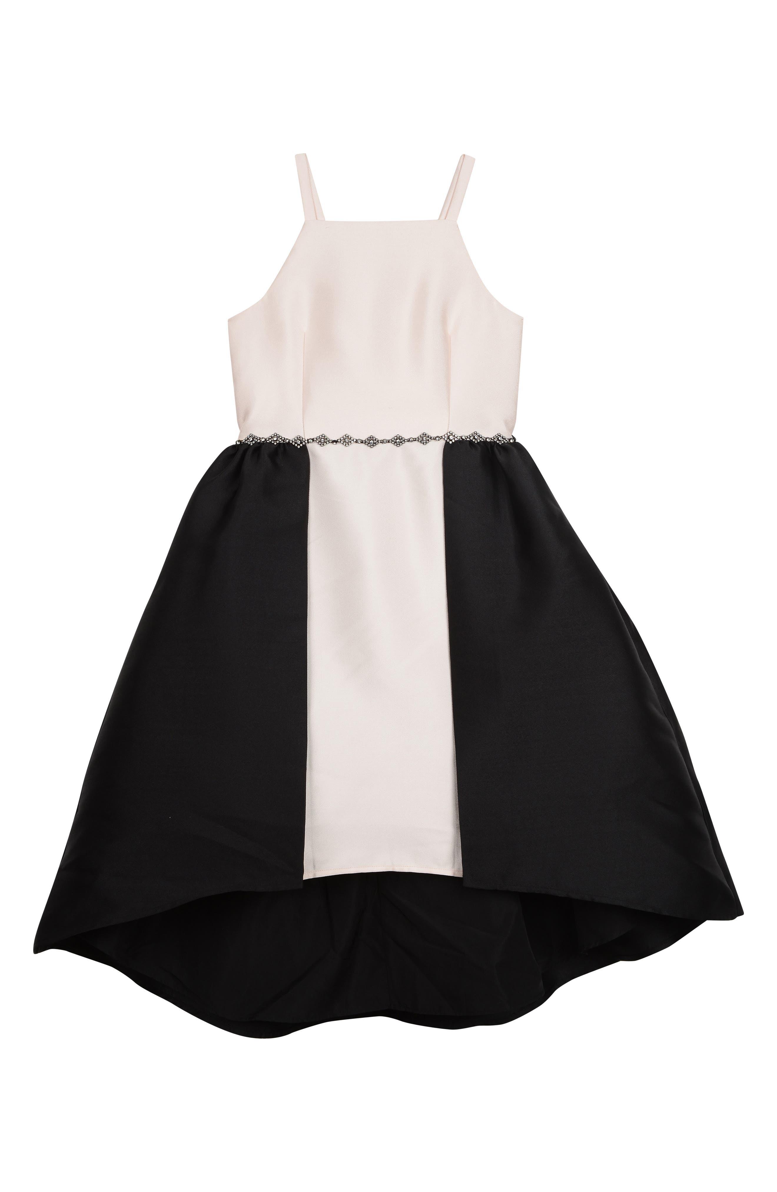 BADGLEY MISCHKA COLLECTION Badgley Mischka Colorblock Sleeveless Dress, Main, color, BLACK/ IVORY