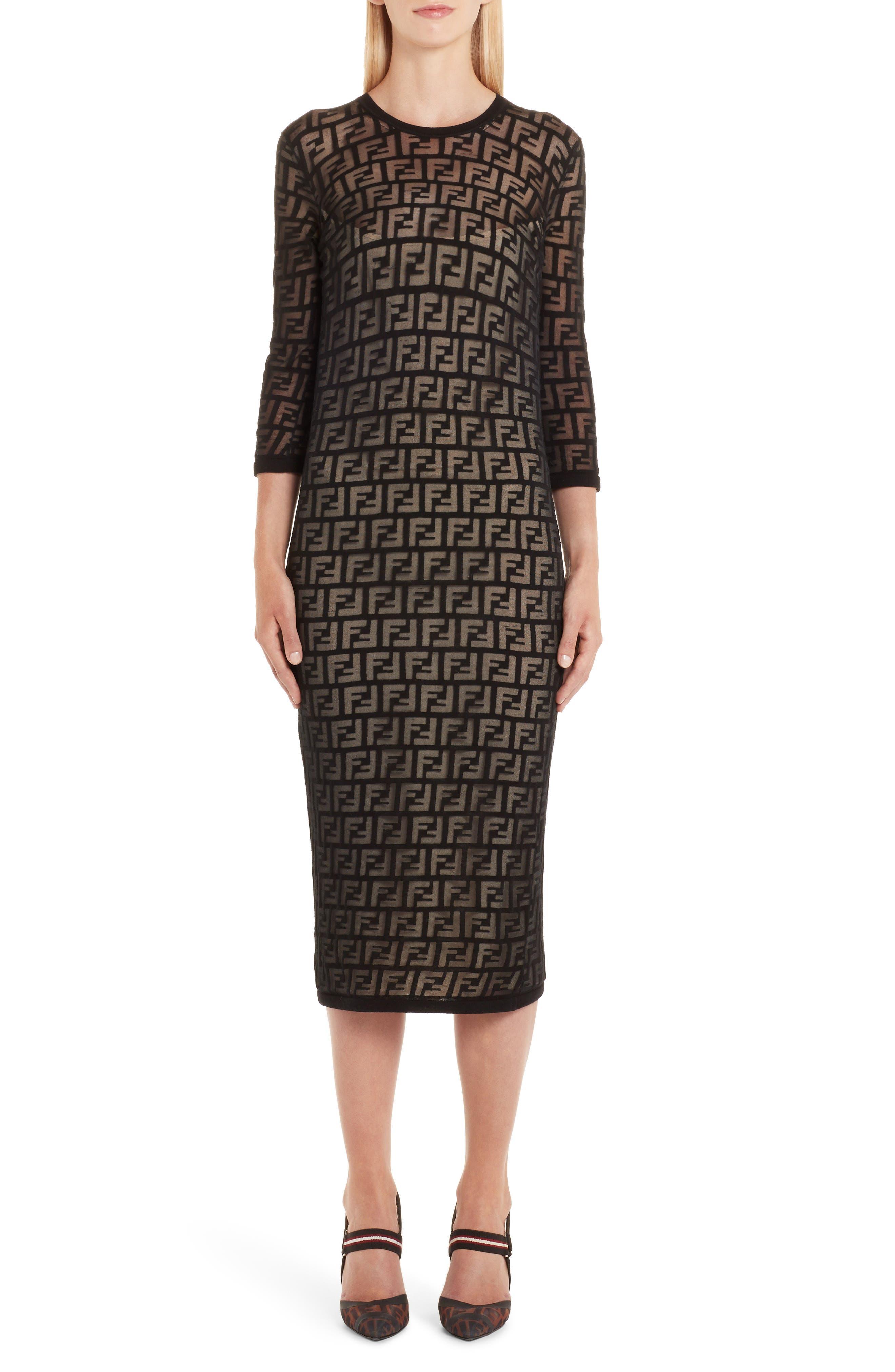 Fendi Ff Devore Knit Dress, 6 IT - Black