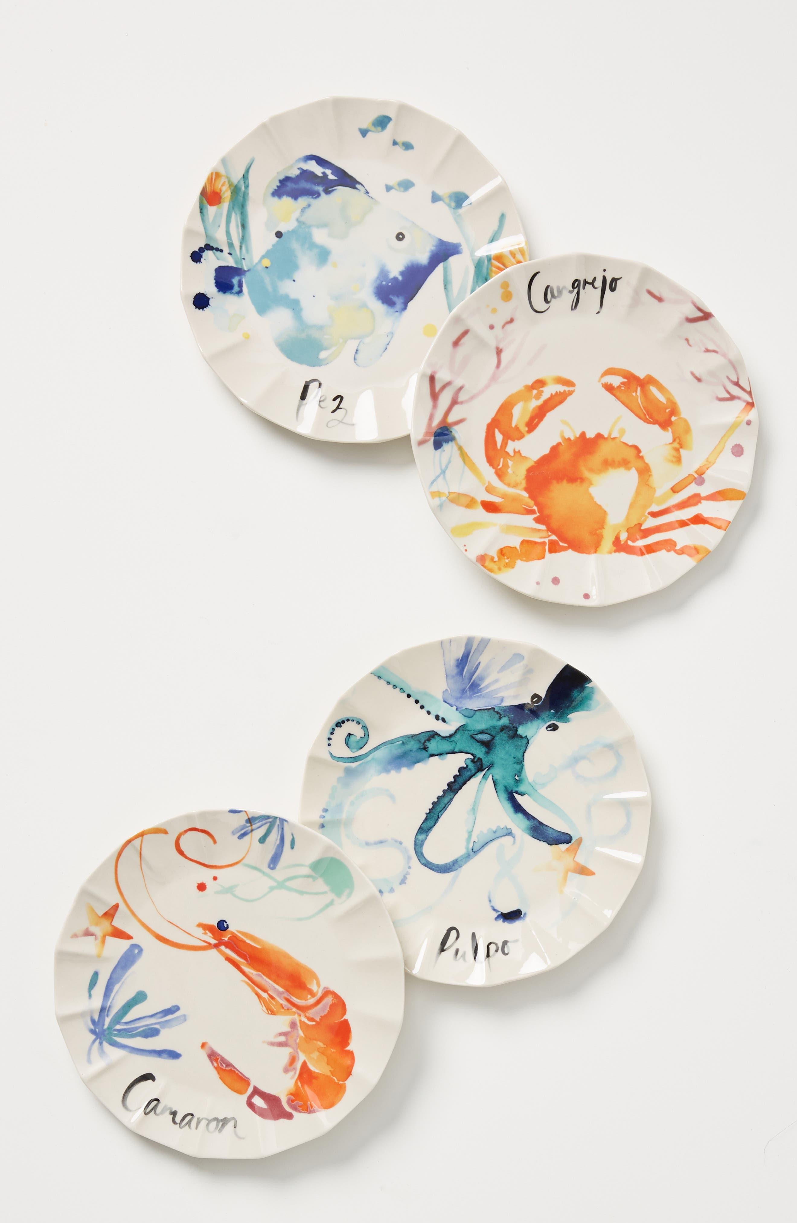 Anthropologie Sarah Hankinson Set Of 4 Side Plates Size One Size  White