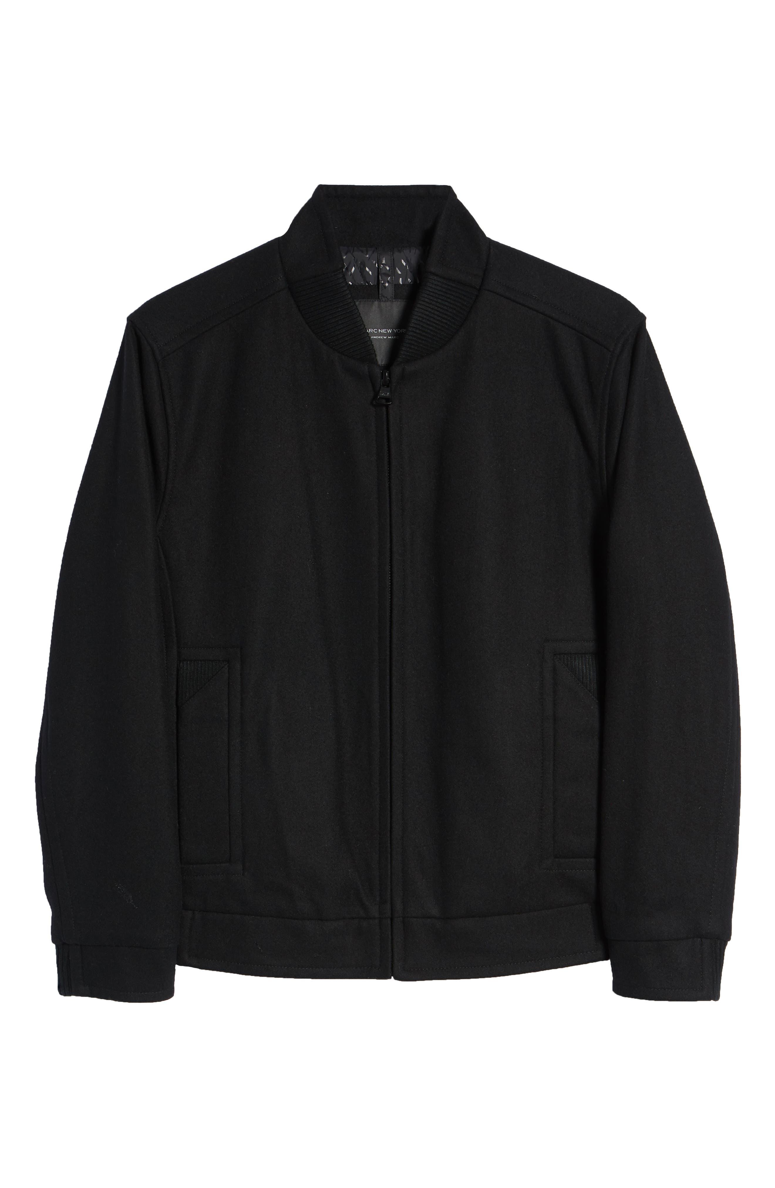 MARC NEW YORK, Barlow Wool Blend Bomber Jacket, Alternate thumbnail 6, color, 001