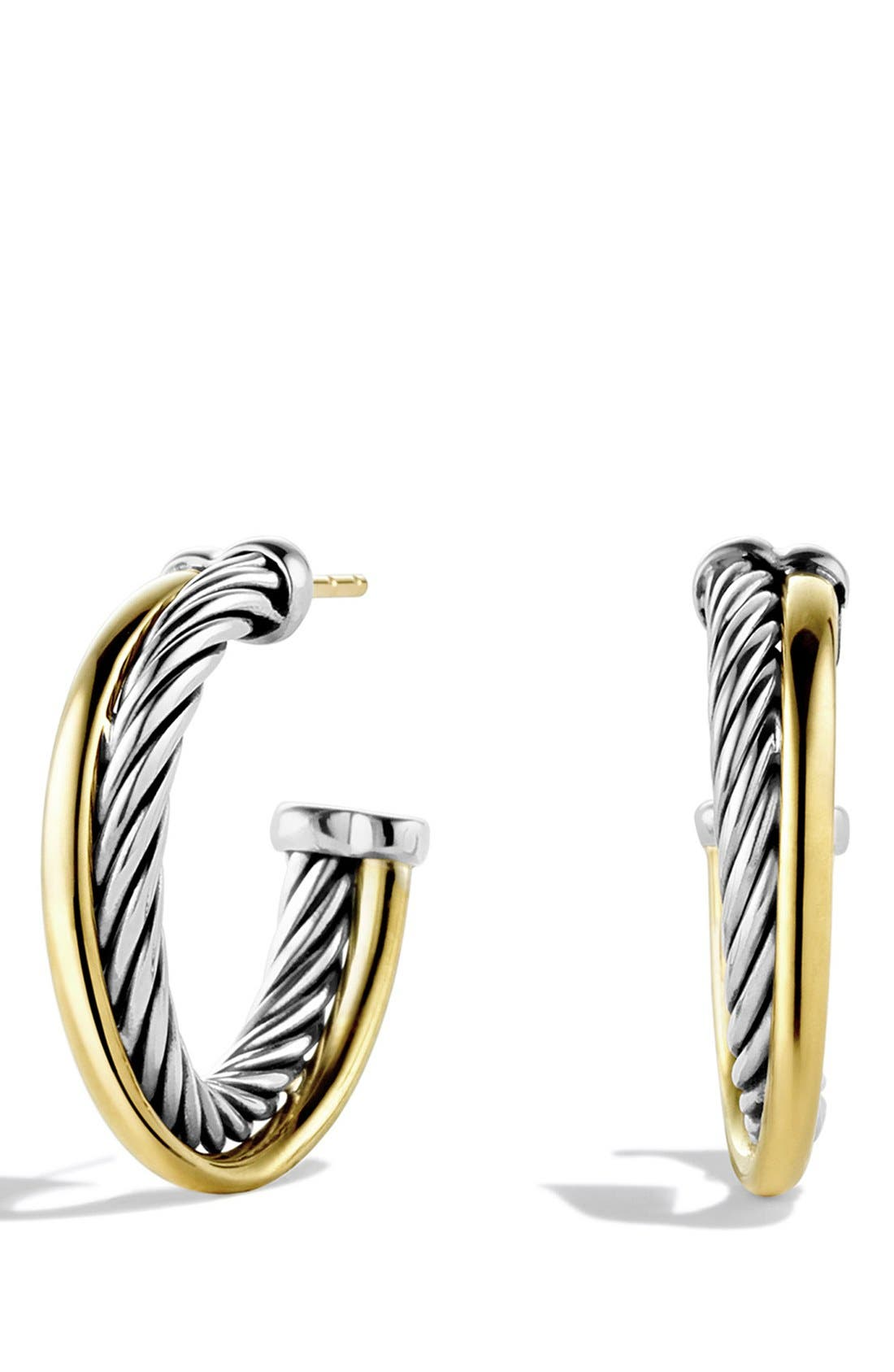 DAVID YURMAN, 'Crossover' Small Hoop Earrings with Gold, Main thumbnail 1, color, TWO TONE