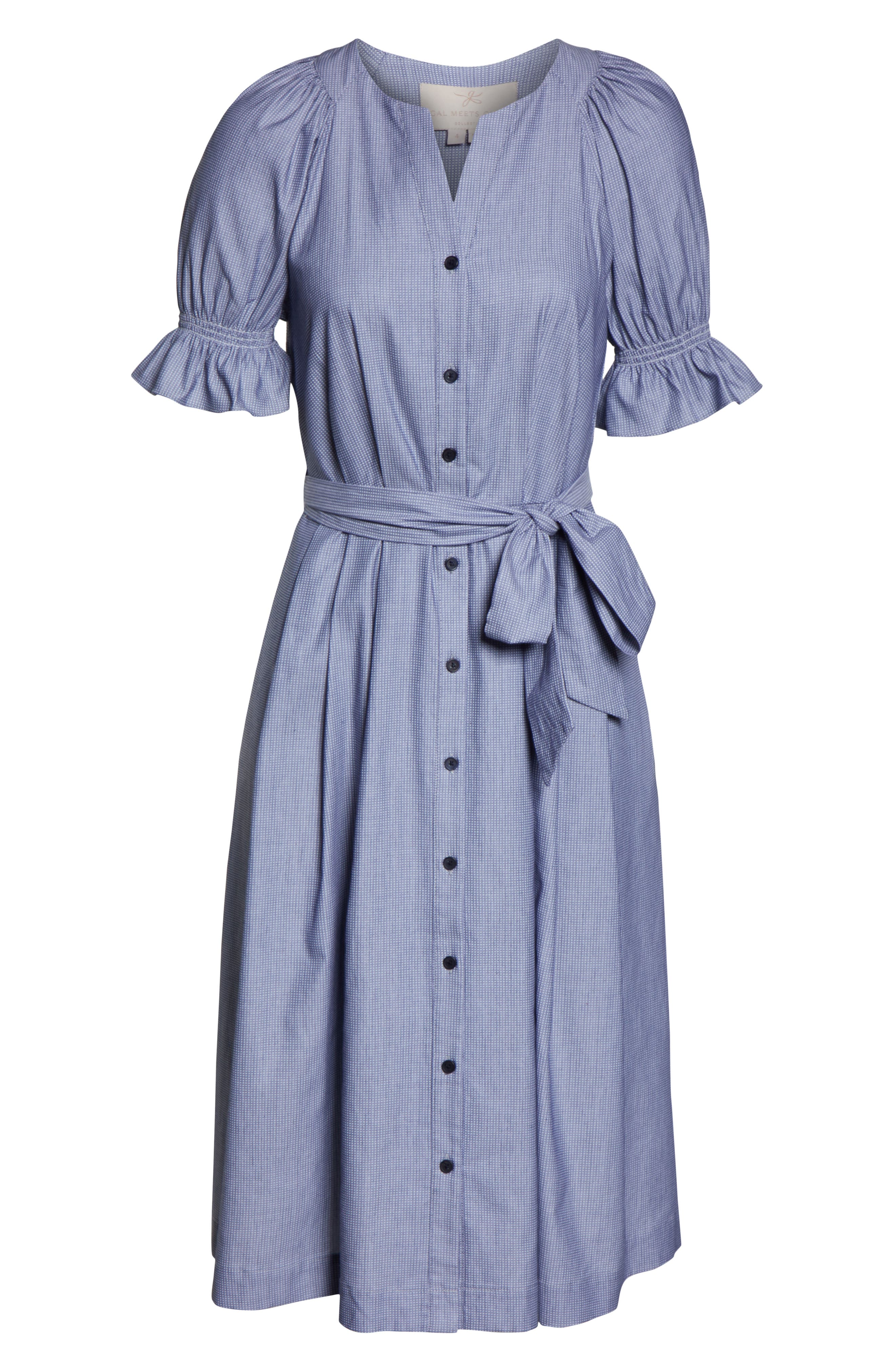 GAL MEETS GLAM COLLECTION, Daisy Cotton Dobby Shirtdress, Alternate thumbnail 5, color, BLUE/ WHITE