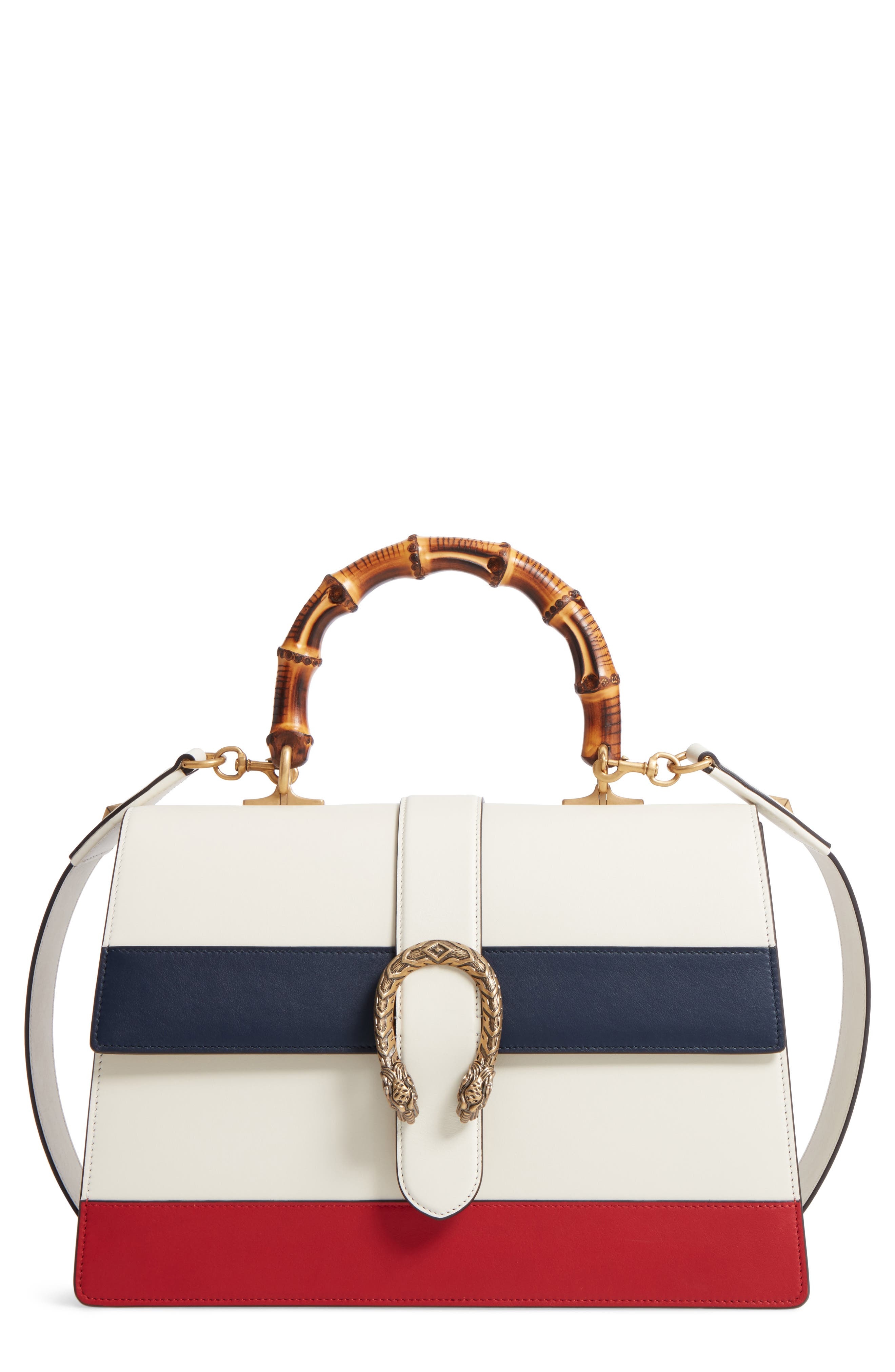 GUCCI, Large Dionysus Top Handle Leather Shoulder Bag, Main thumbnail 1, color, MYSTIC WHITE/ BLUE/ RED