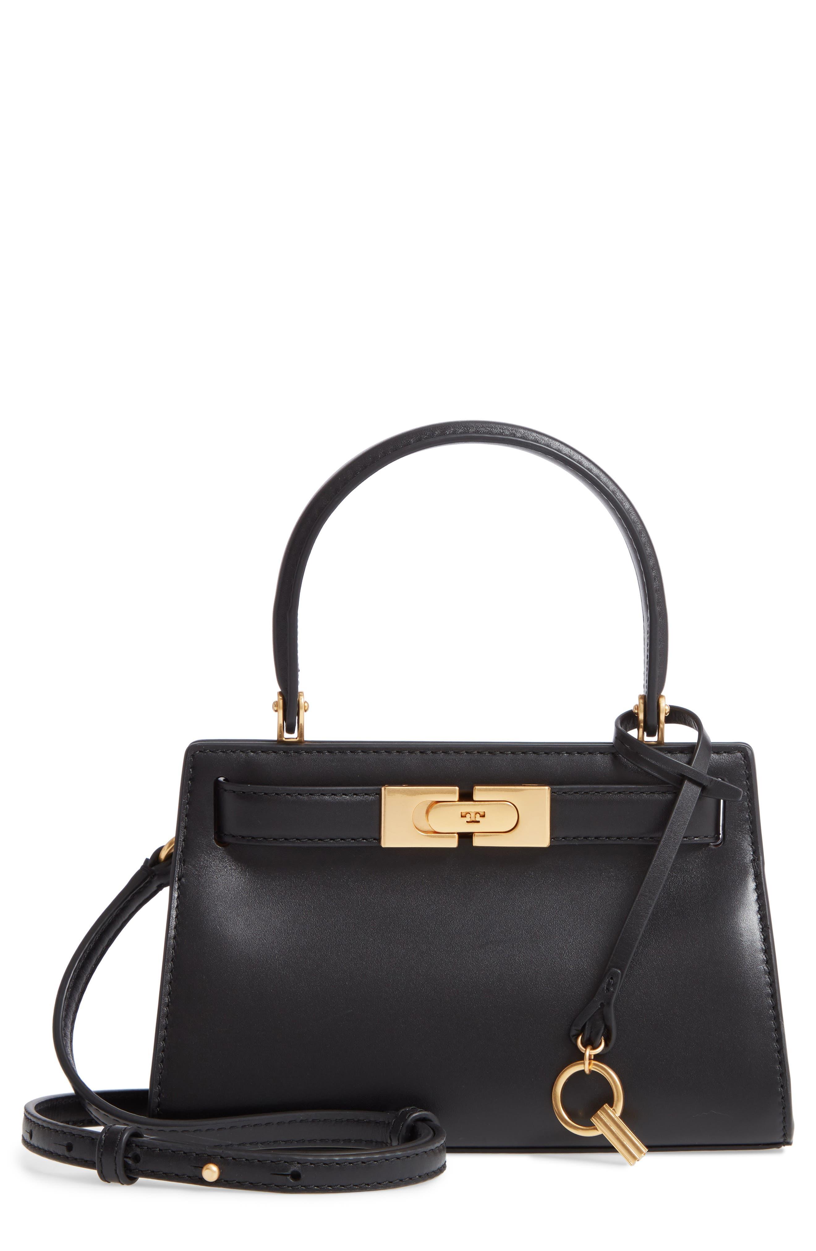 TORY BURCH Mini Lee Radziwill Leather Bag, Main, color, BLACK