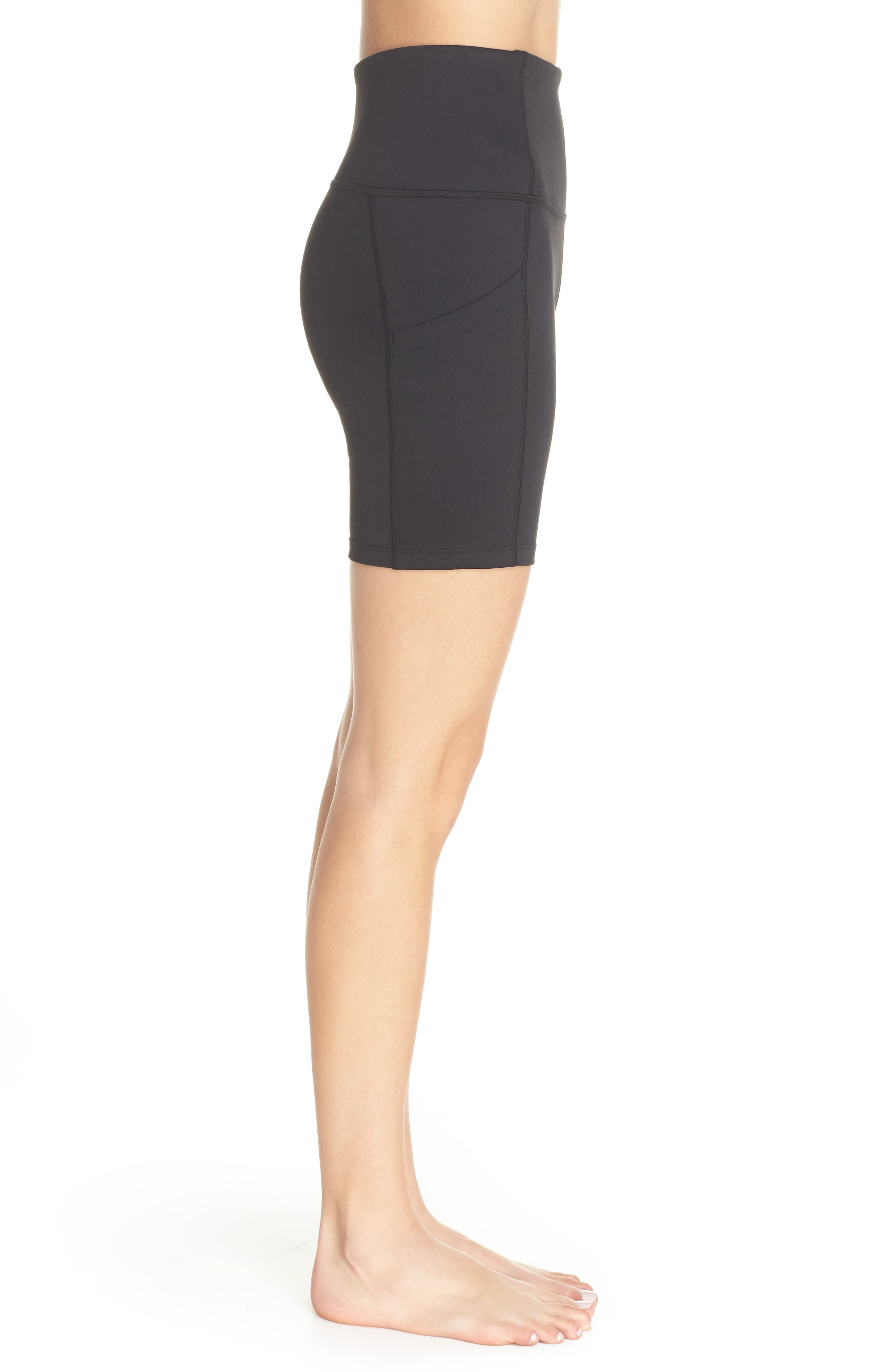 ZELLA, Live In High Waist Pocket Bike Shorts, Alternate thumbnail 4, color, BLACK