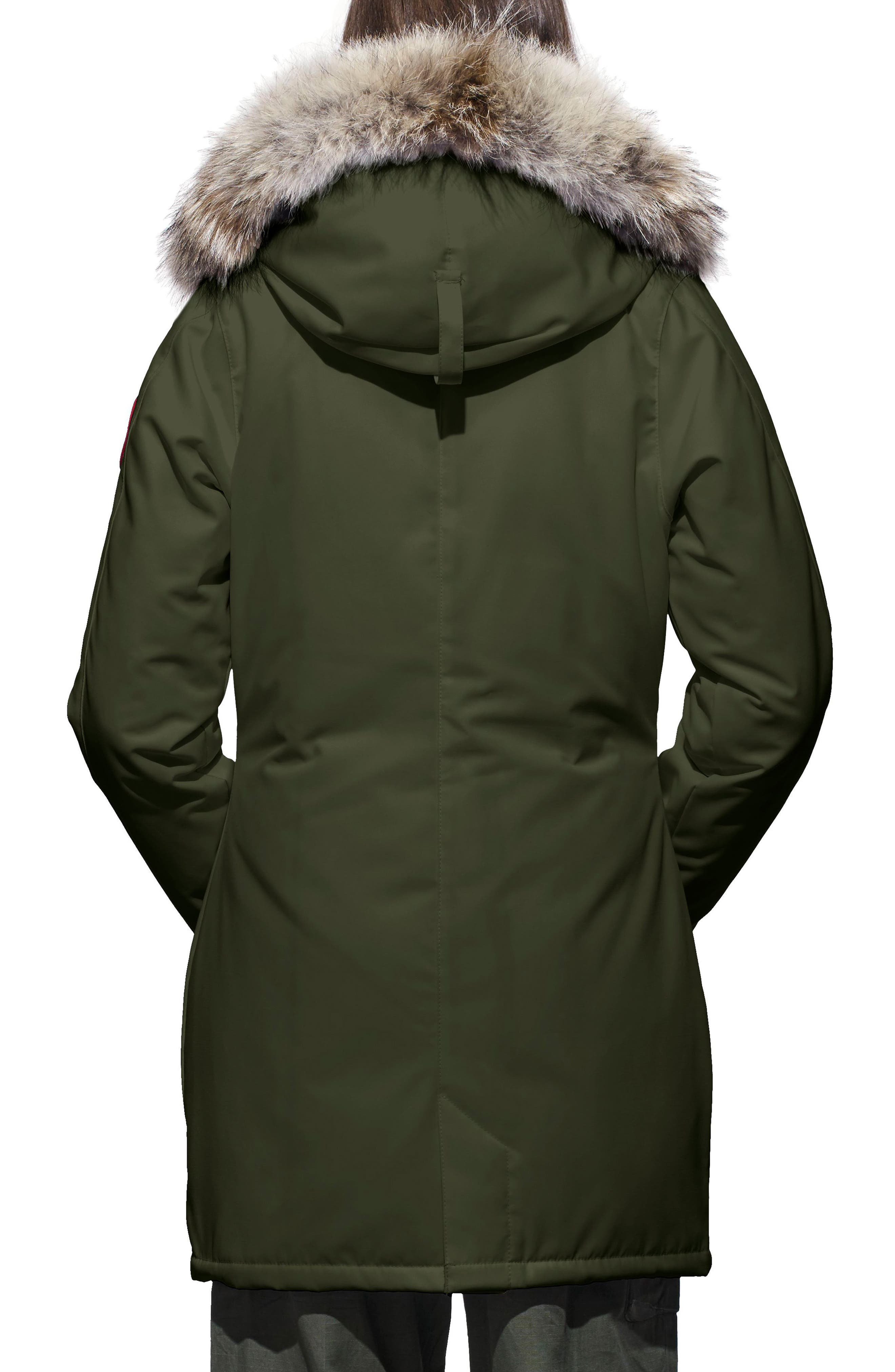 CANADA GOOSE, Victoria Fusion Fit Down Parka with Genuine Coyote Fur Trim, Alternate thumbnail 2, color, MILITARY GREEN