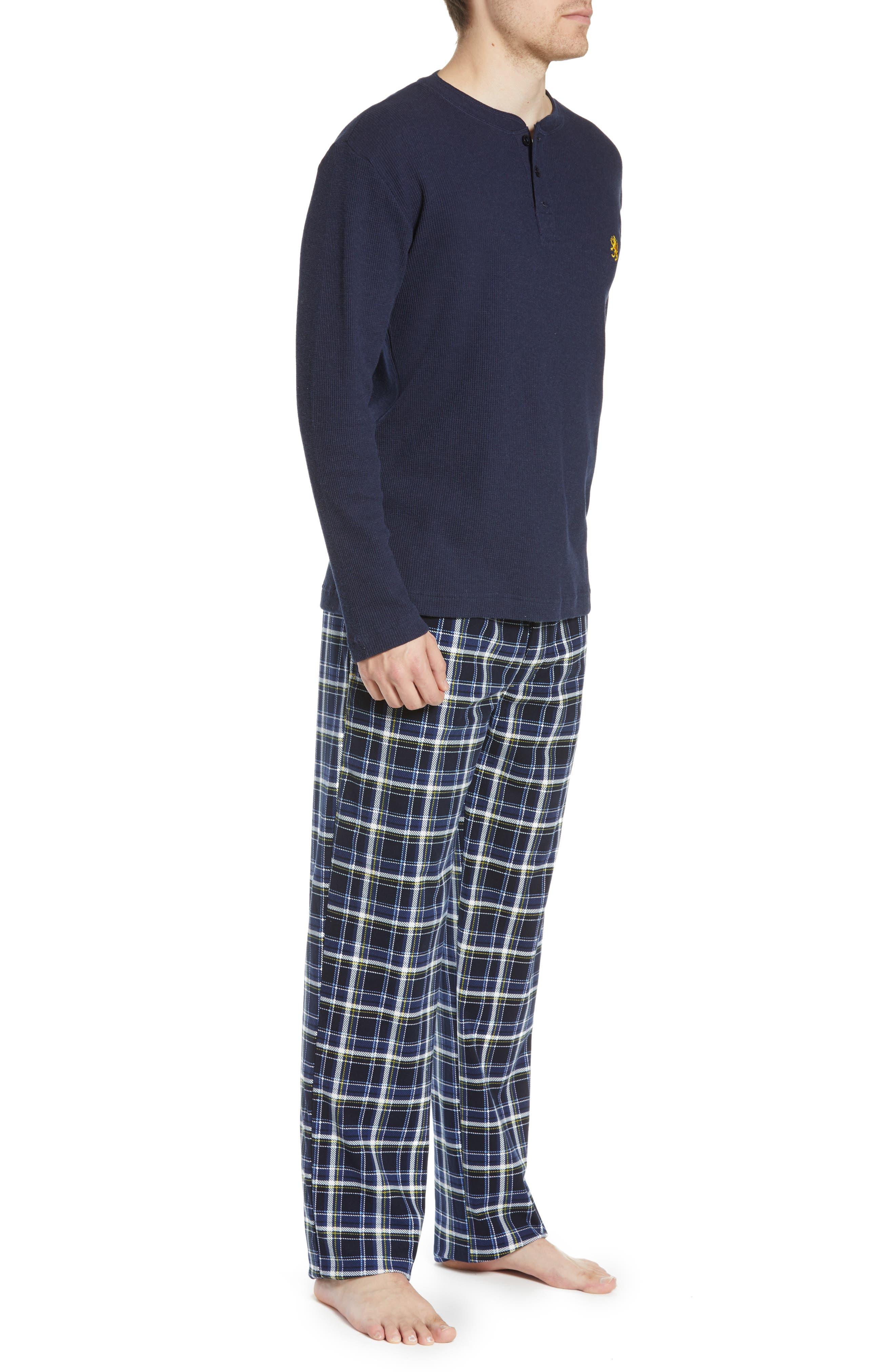 MAJESTIC INTERNATIONAL, Take It Outside 2-Piece Pajamas, Alternate thumbnail 3, color, BLUE