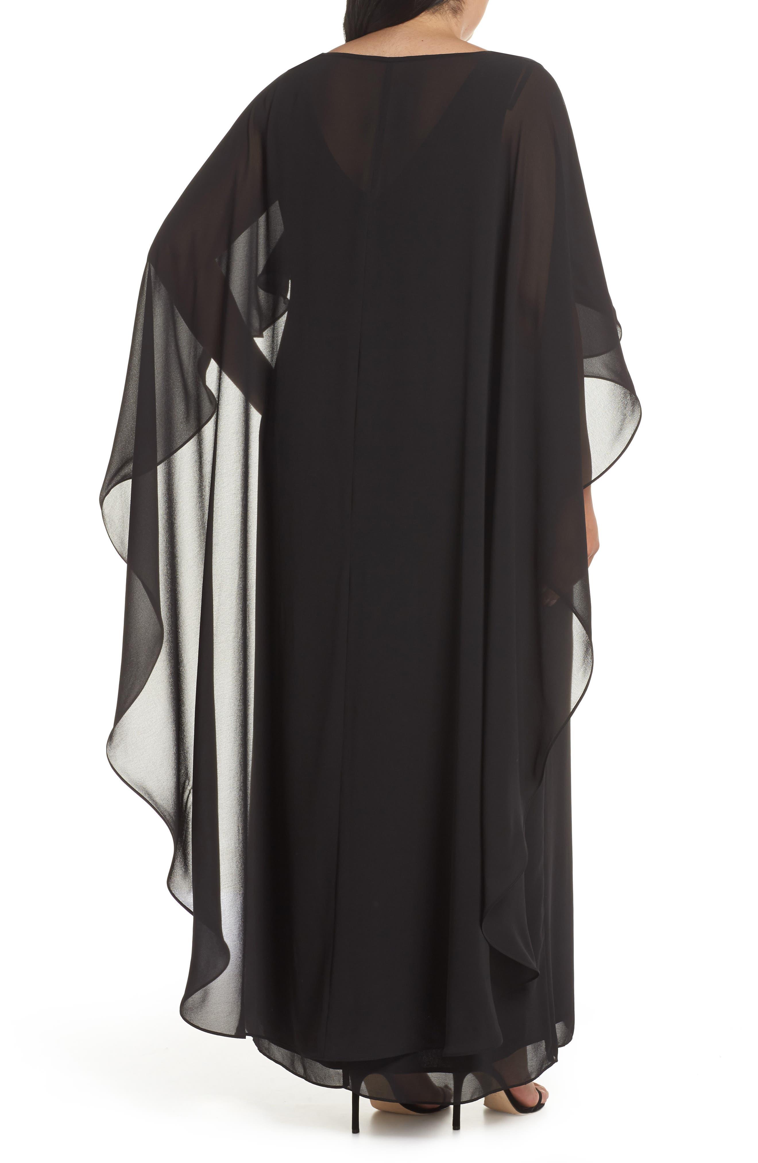 XSCAPE, Cape Overlay Chiffon Gown, Alternate thumbnail 2, color, BLACK