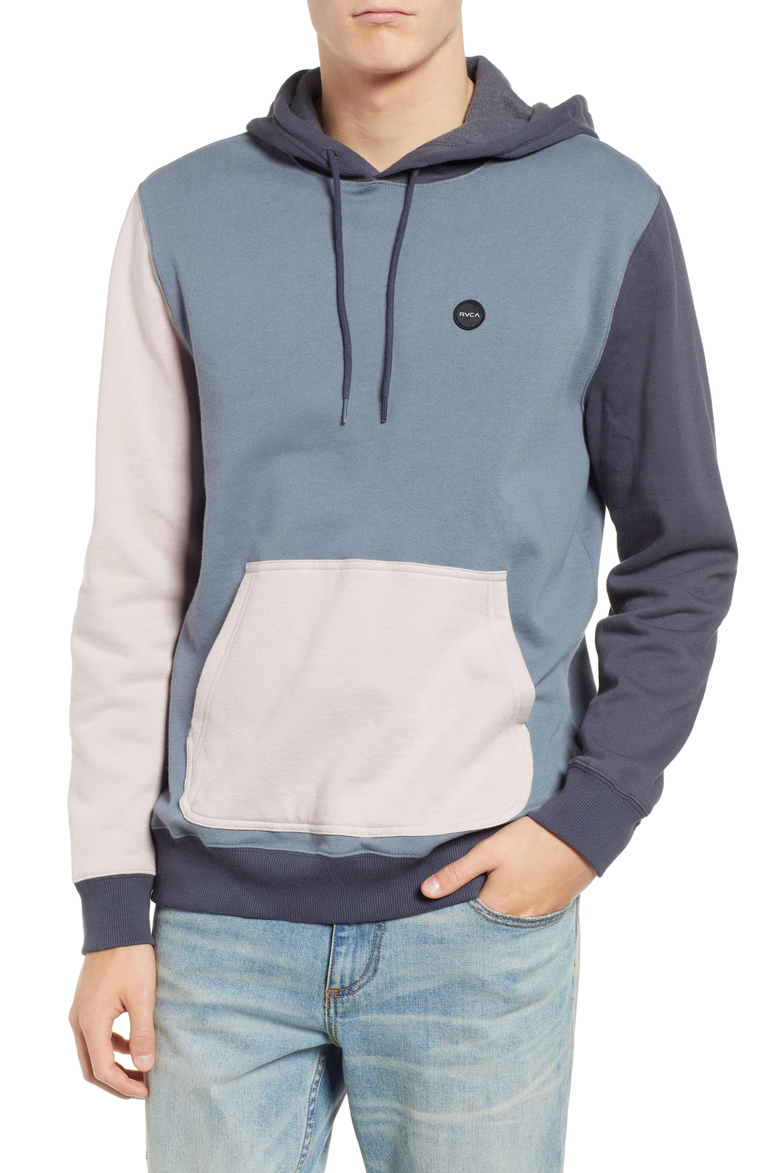 RVCA, Ruddy Hoodie Sweatshirt, Main thumbnail 1, color, BLUE SLATE