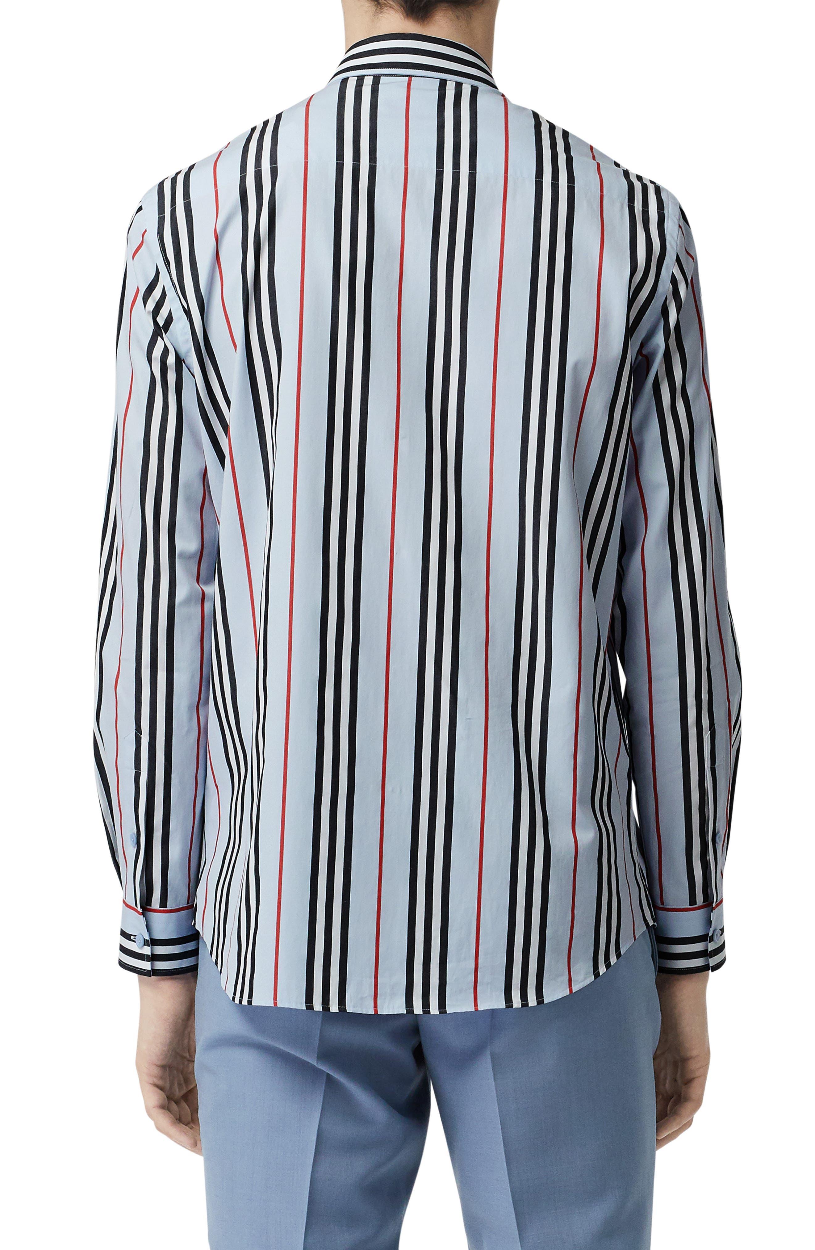 BURBERRY, Icon Stripe Shirt, Alternate thumbnail 3, color, PALE BLUE