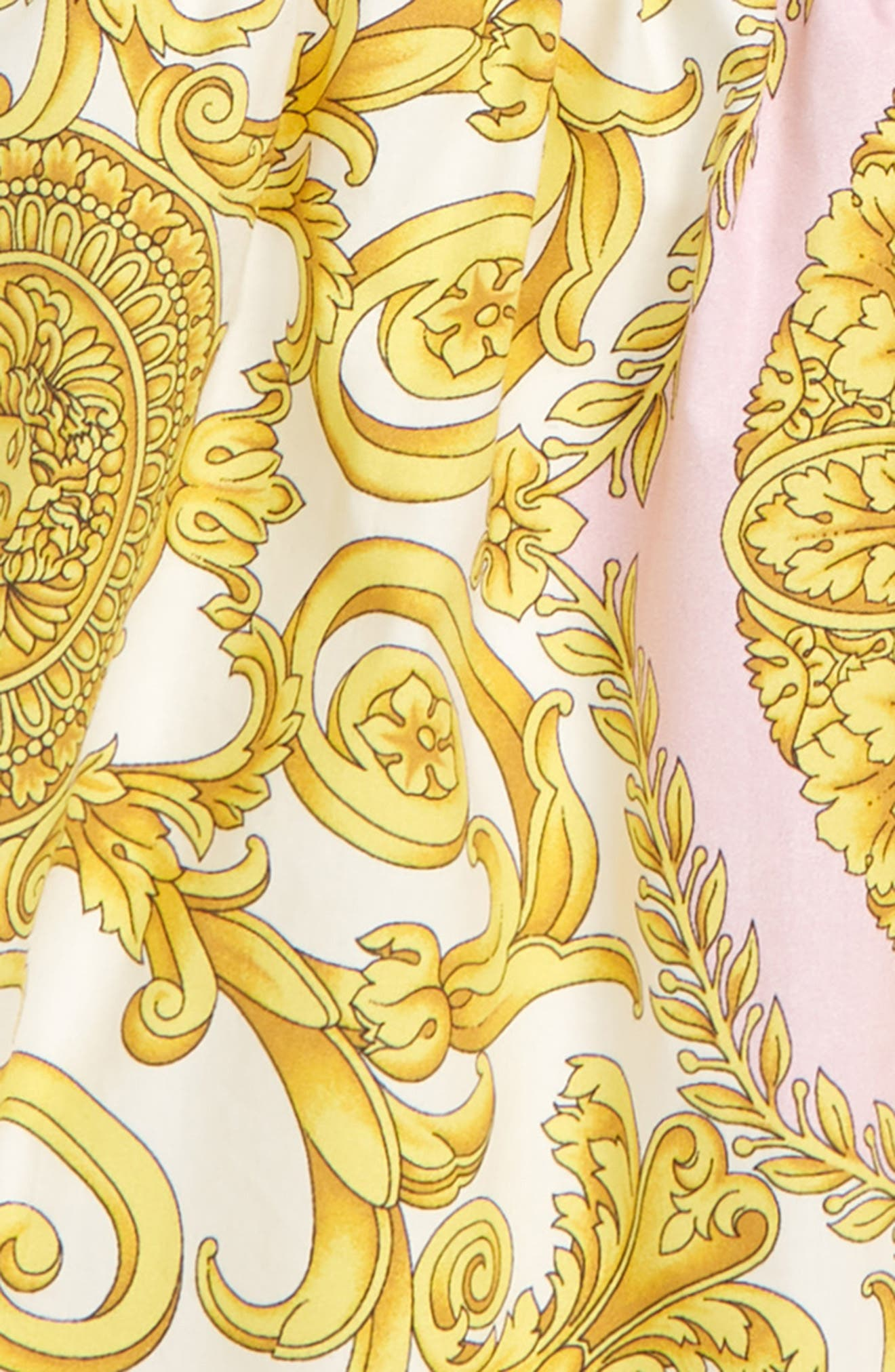 VERSACE, Barocco Print Fit & Flare Dress, Alternate thumbnail 3, color, PINK/ GOLD