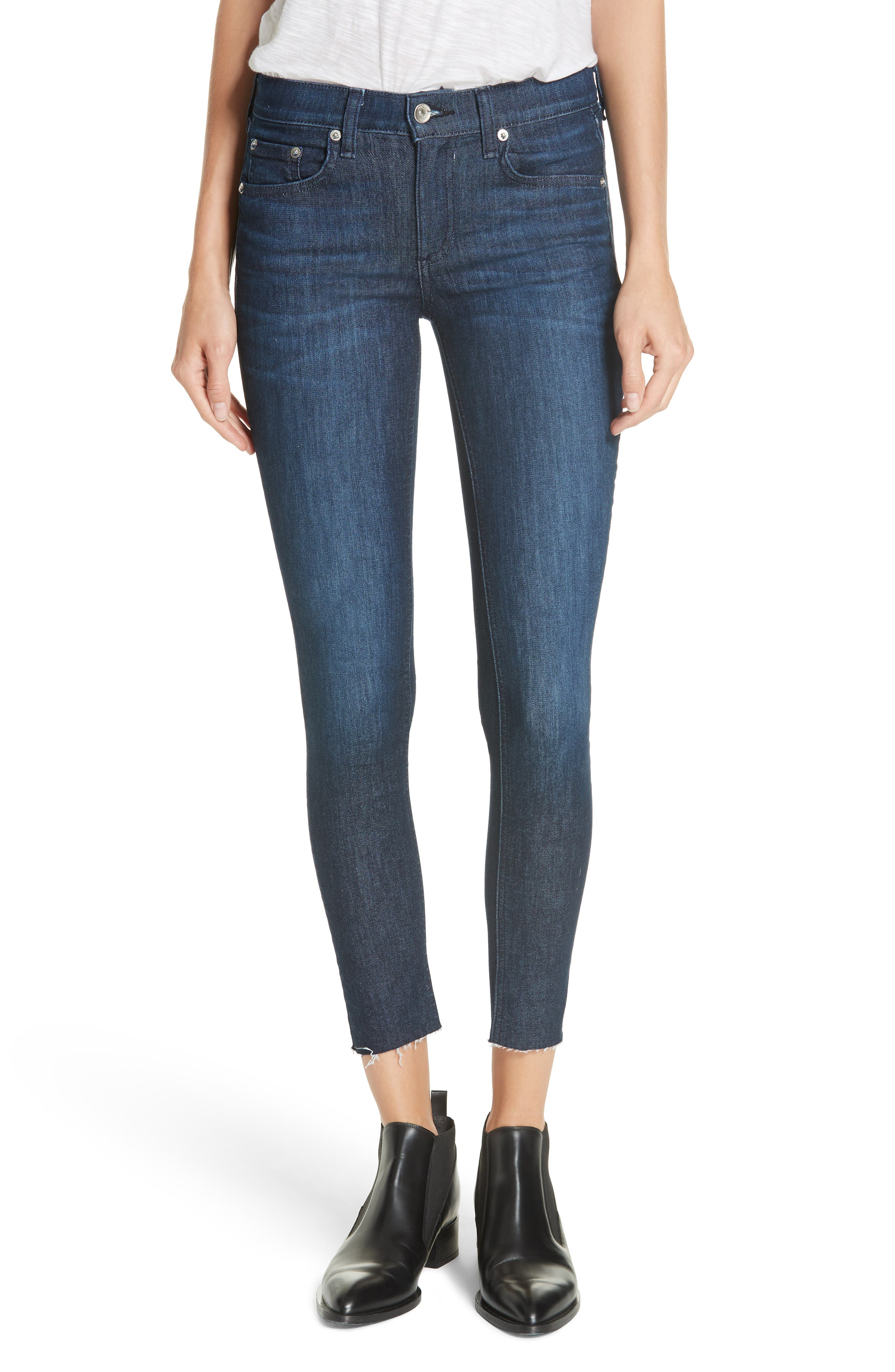 RAG & BONE Raw Hem Ankle Skinny Jeans, Main, color, TONAL RIVER