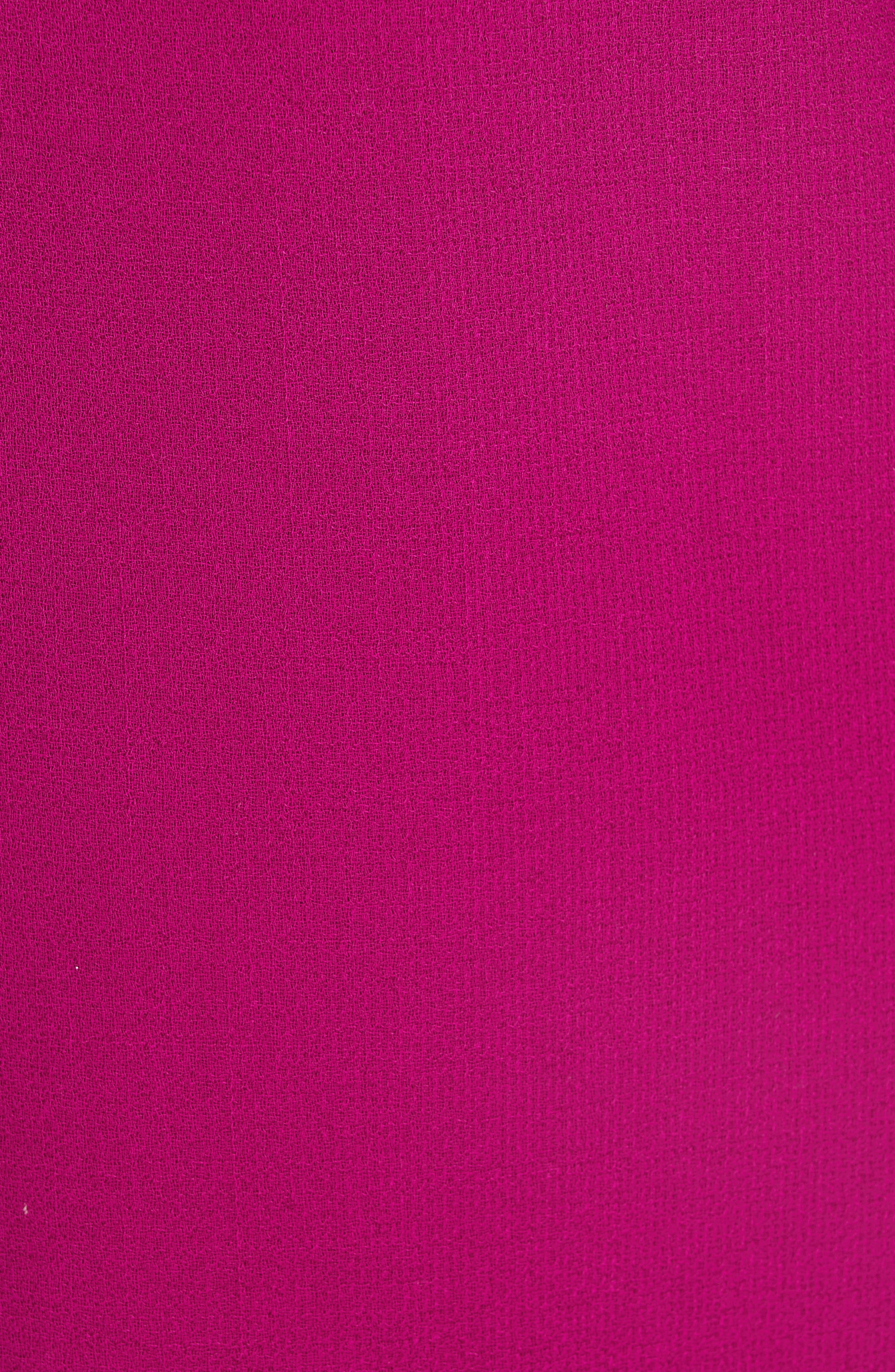 LELA ROSE, Tie Cuff Wool Blend Crepe Shift Dress, Alternate thumbnail 6, color, MAGENTA