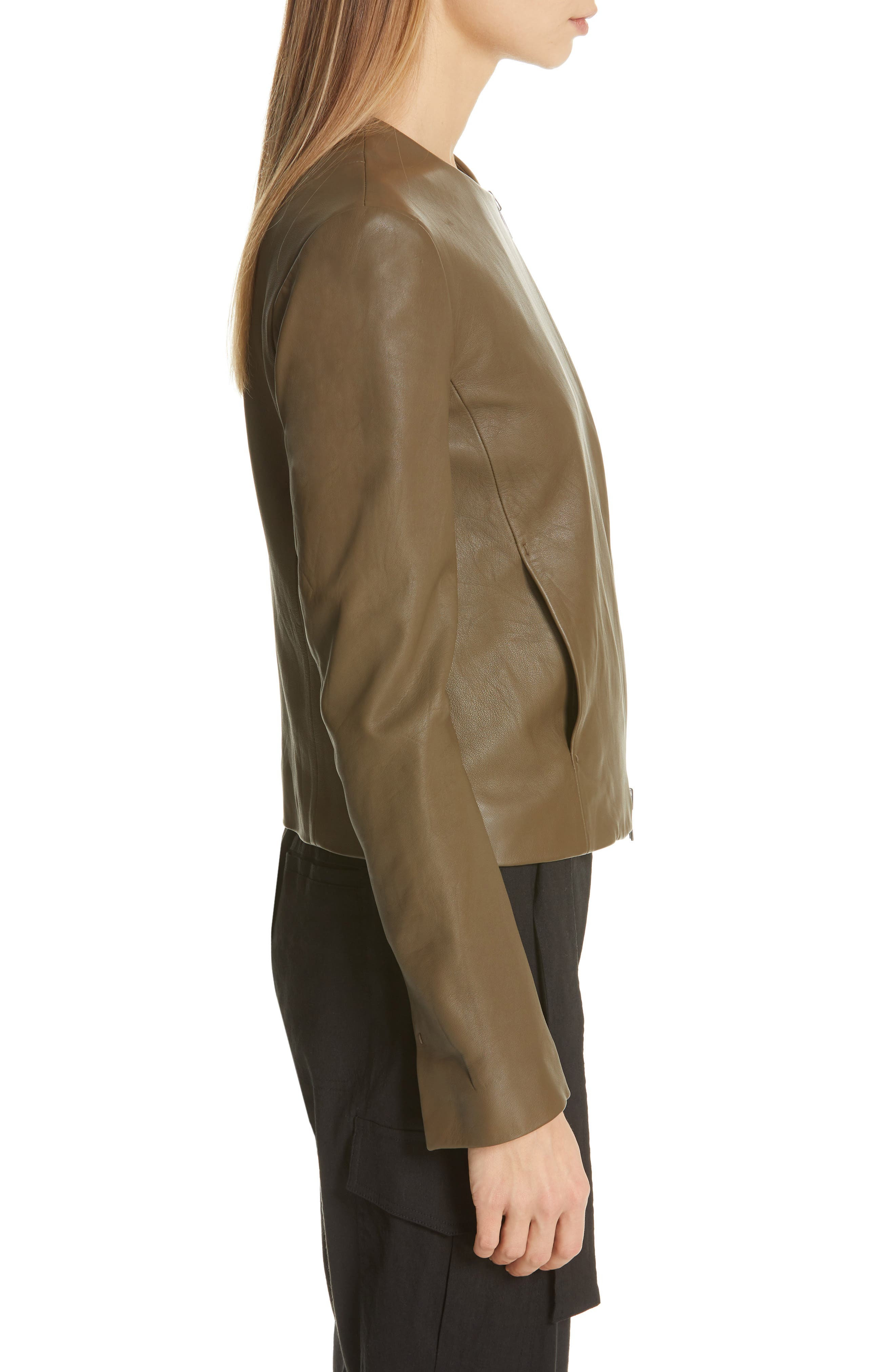 VINCE, Cross Front Leather Jacket, Alternate thumbnail 4, color, OLIVE WOOD