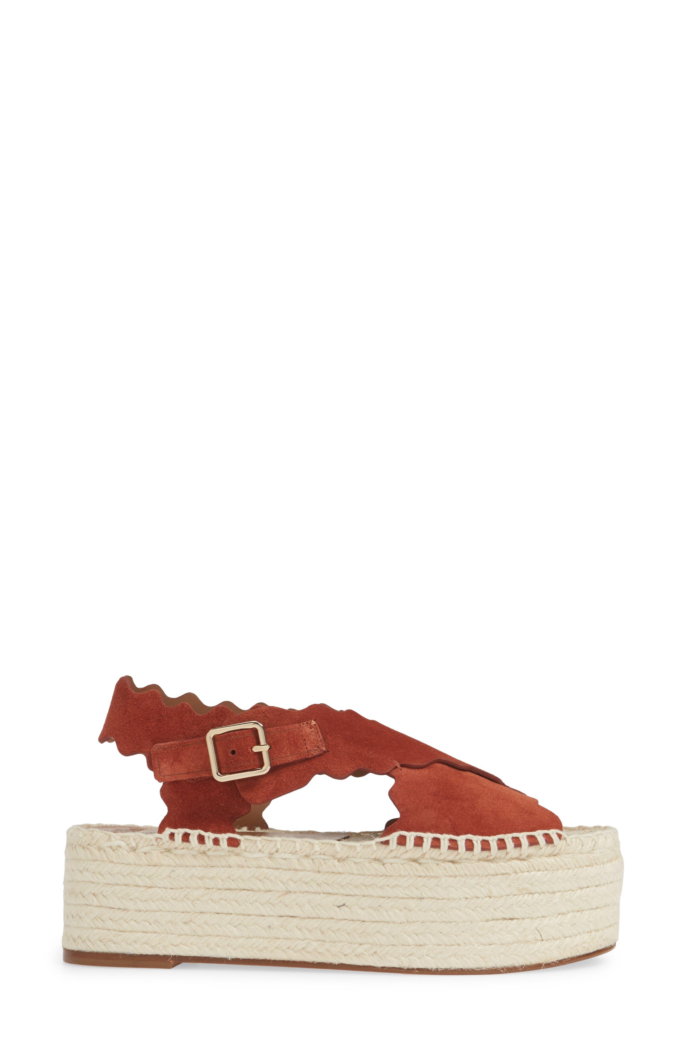 CHLOÉ, Lauren Scalloped Flatform Sandal, Alternate thumbnail 3, color, EARTHY RED