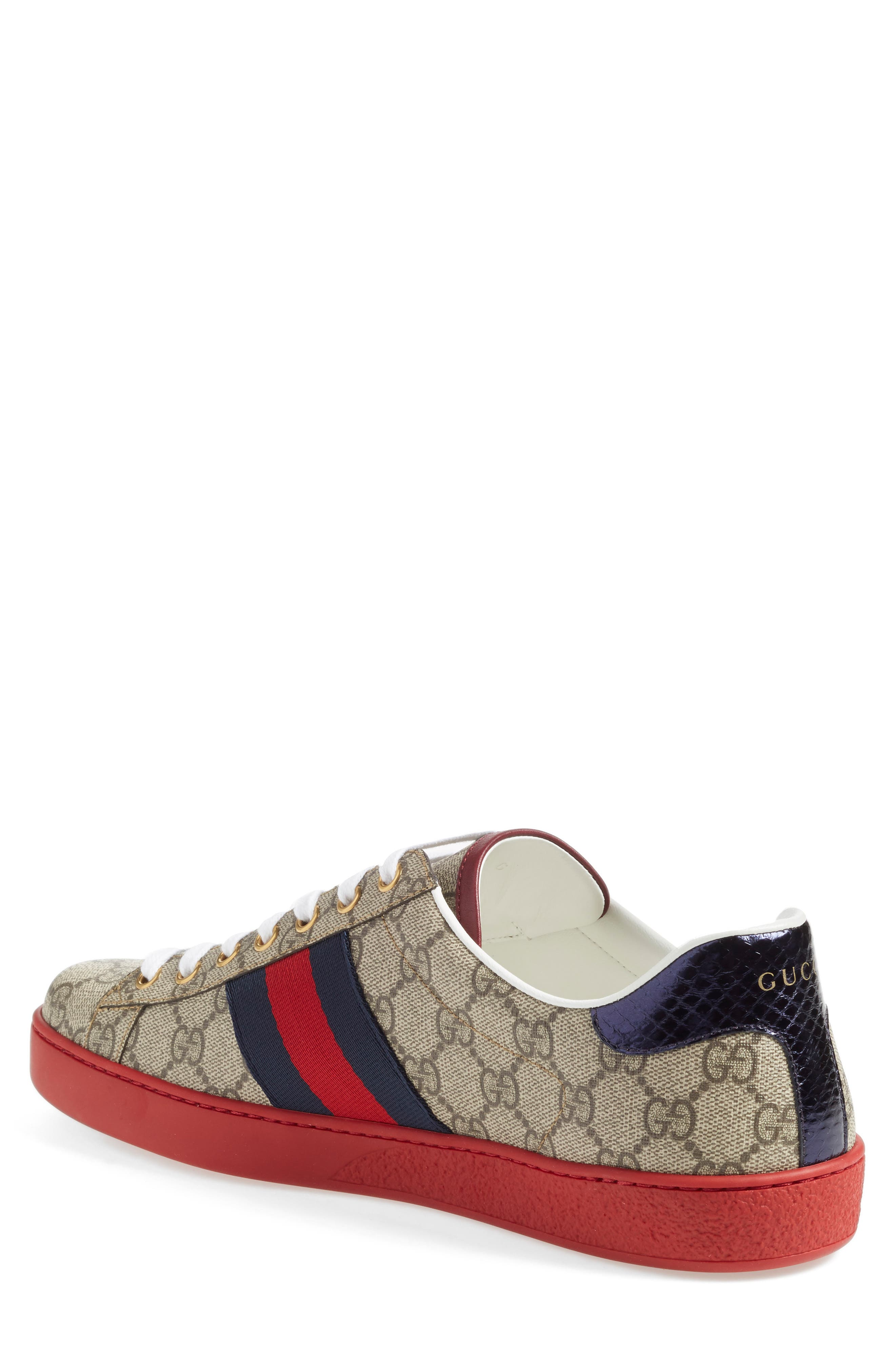 GUCCI, New Ace Webbed Low Top Sneaker, Alternate thumbnail 2, color, BEIGE