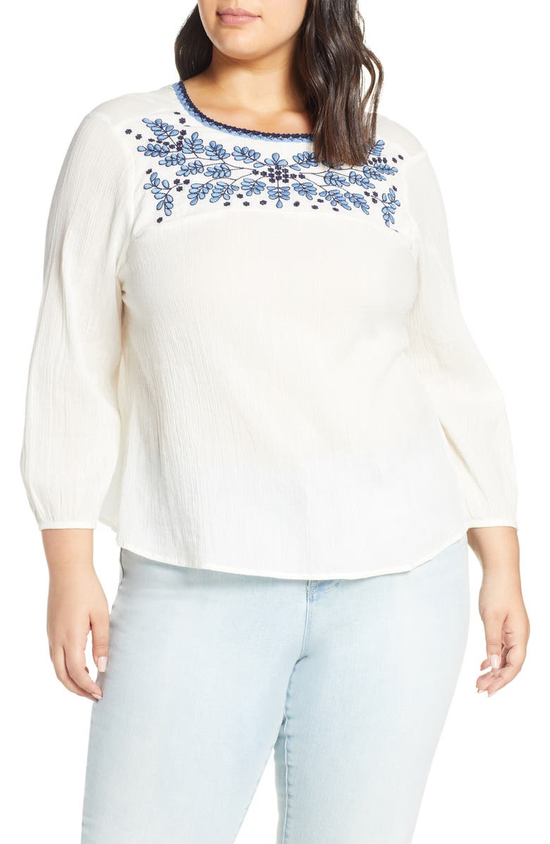 Lucky Brand Tops EMBROIDERED YOKE COTTON PEASANT BLOUSE