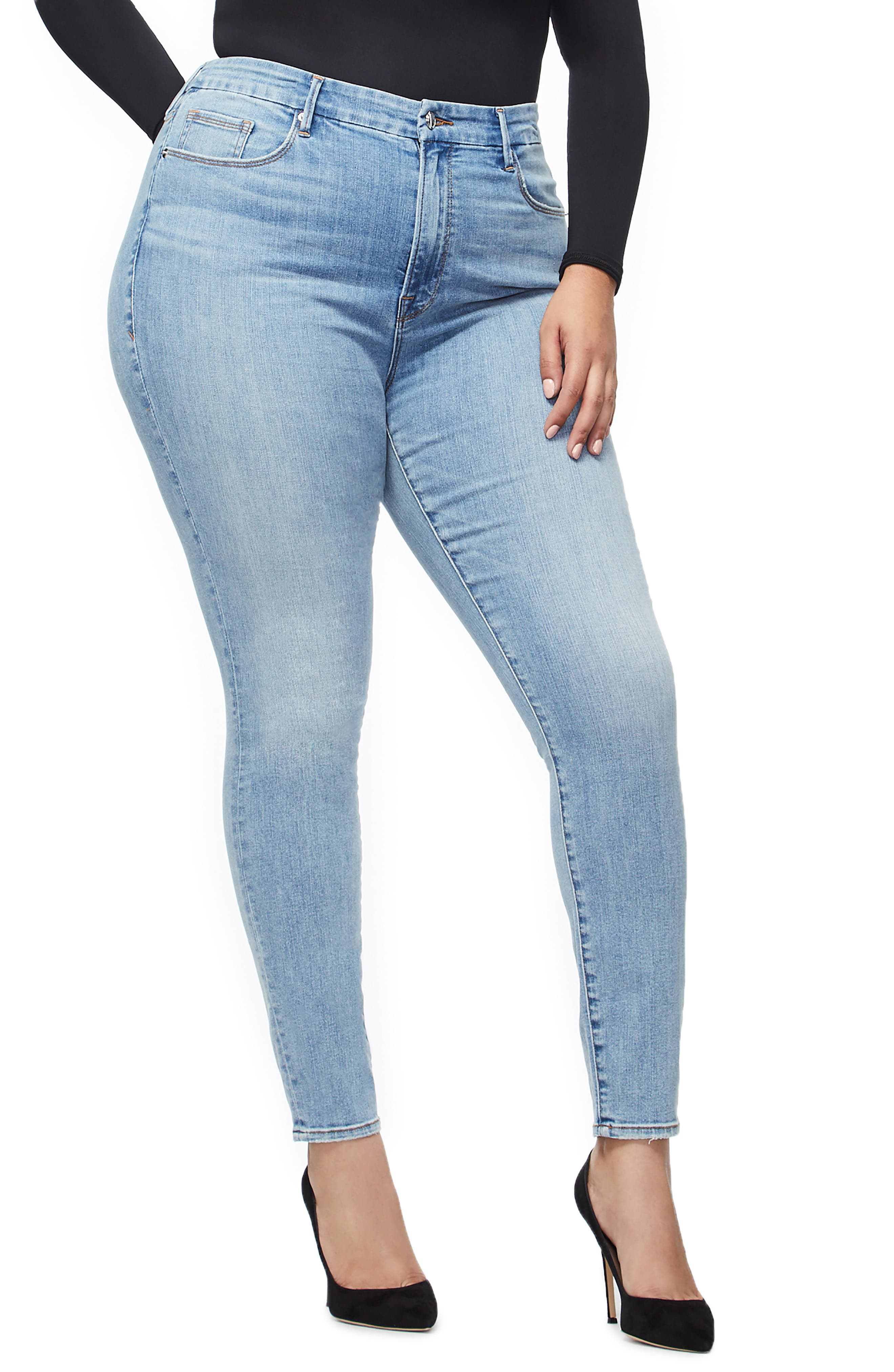 GOOD AMERICAN, Good Legs Ripped High Waist Skinny Jeans, Alternate thumbnail 7, color, BLUE221