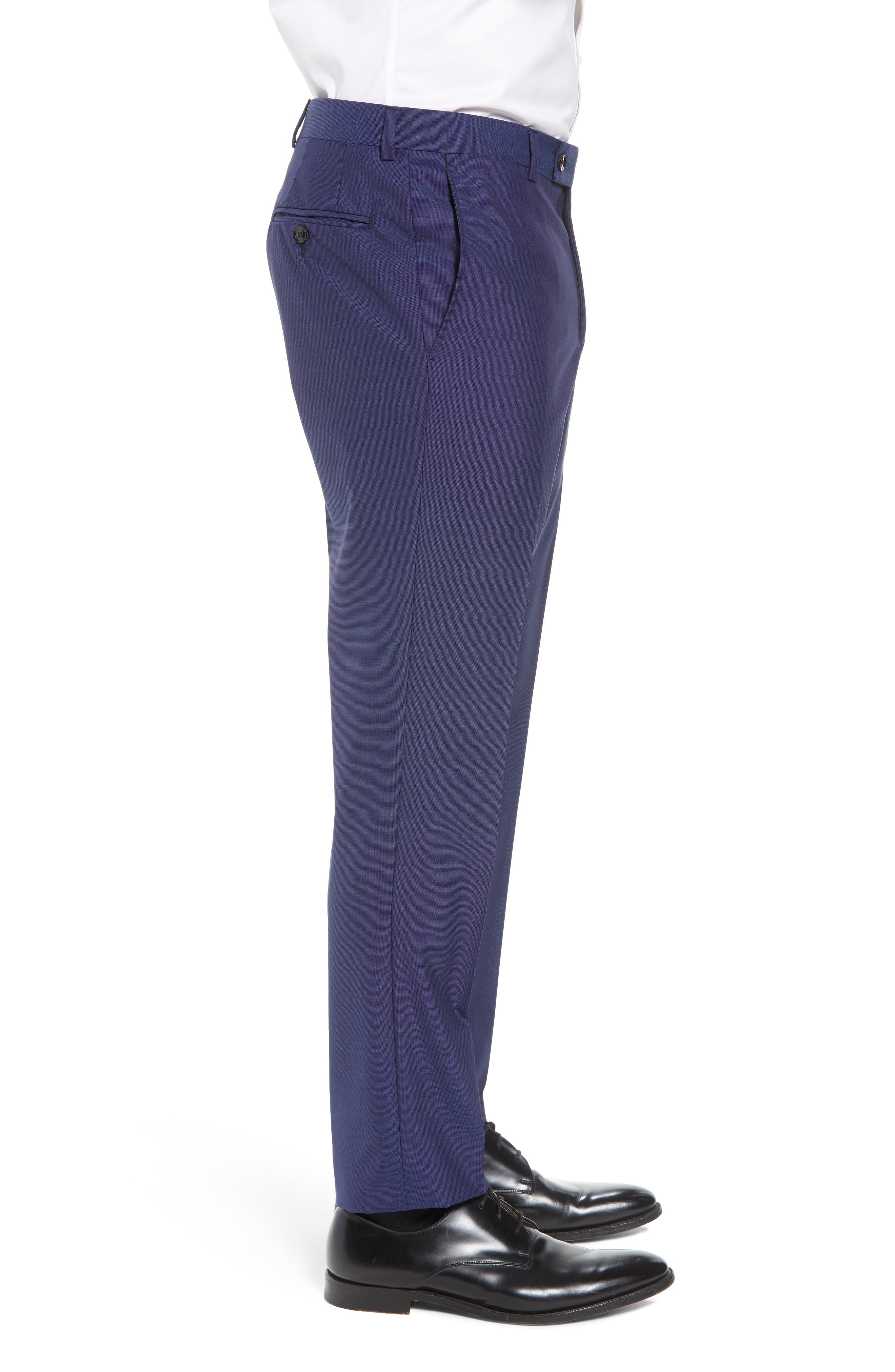 TED BAKER LONDON, Jefferson Flat Front Solid Wool Trousers, Alternate thumbnail 5, color, BLUE