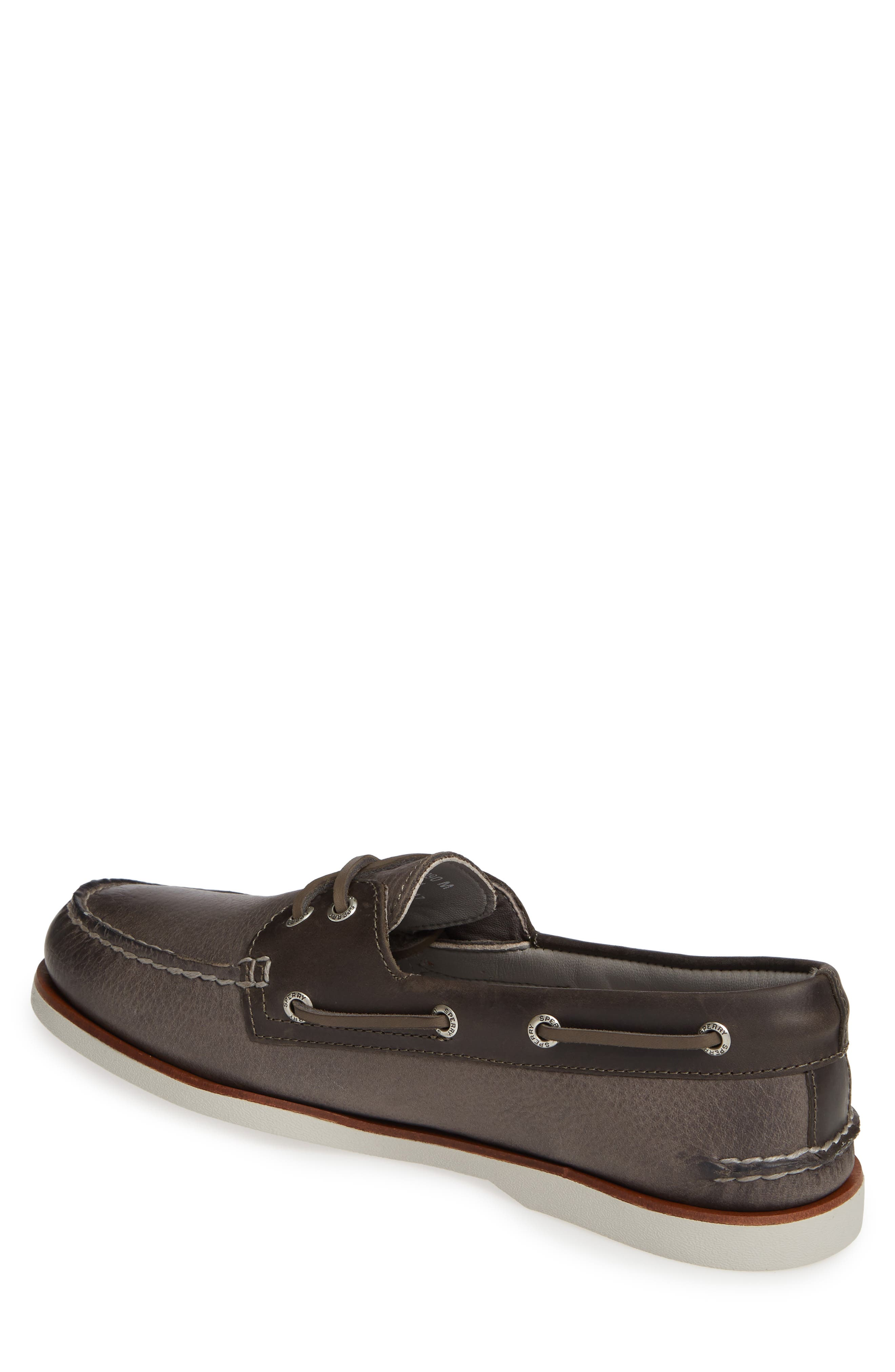 SPERRY, Authentic Original Gold Rivinton Boat Shoe, Alternate thumbnail 2, color, GREY