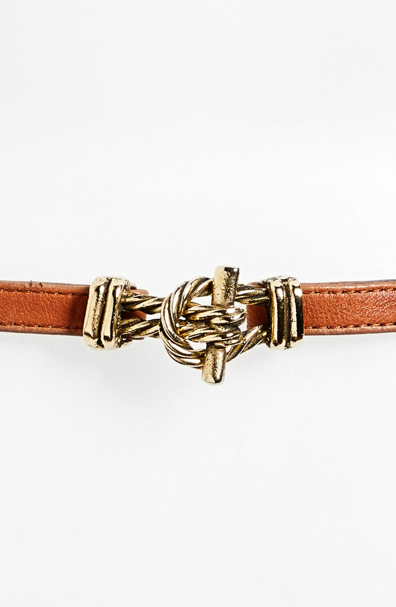 RAINA, Fitzgerald Leather Belt, Alternate thumbnail 3, color, COGNAC