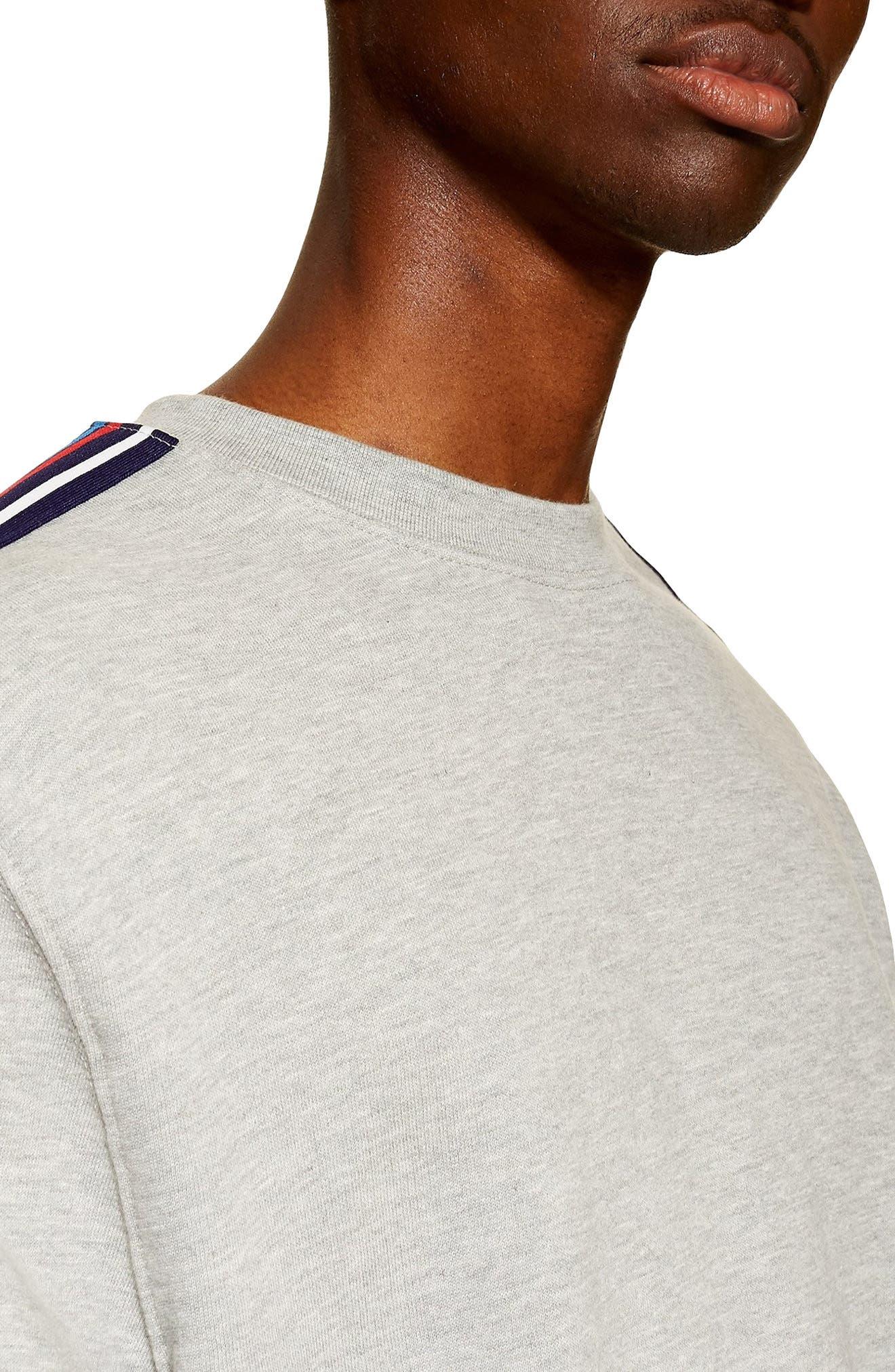 TOPMAN, Tape Crewneck Sweatshirt, Alternate thumbnail 3, color, LIGHT GREY