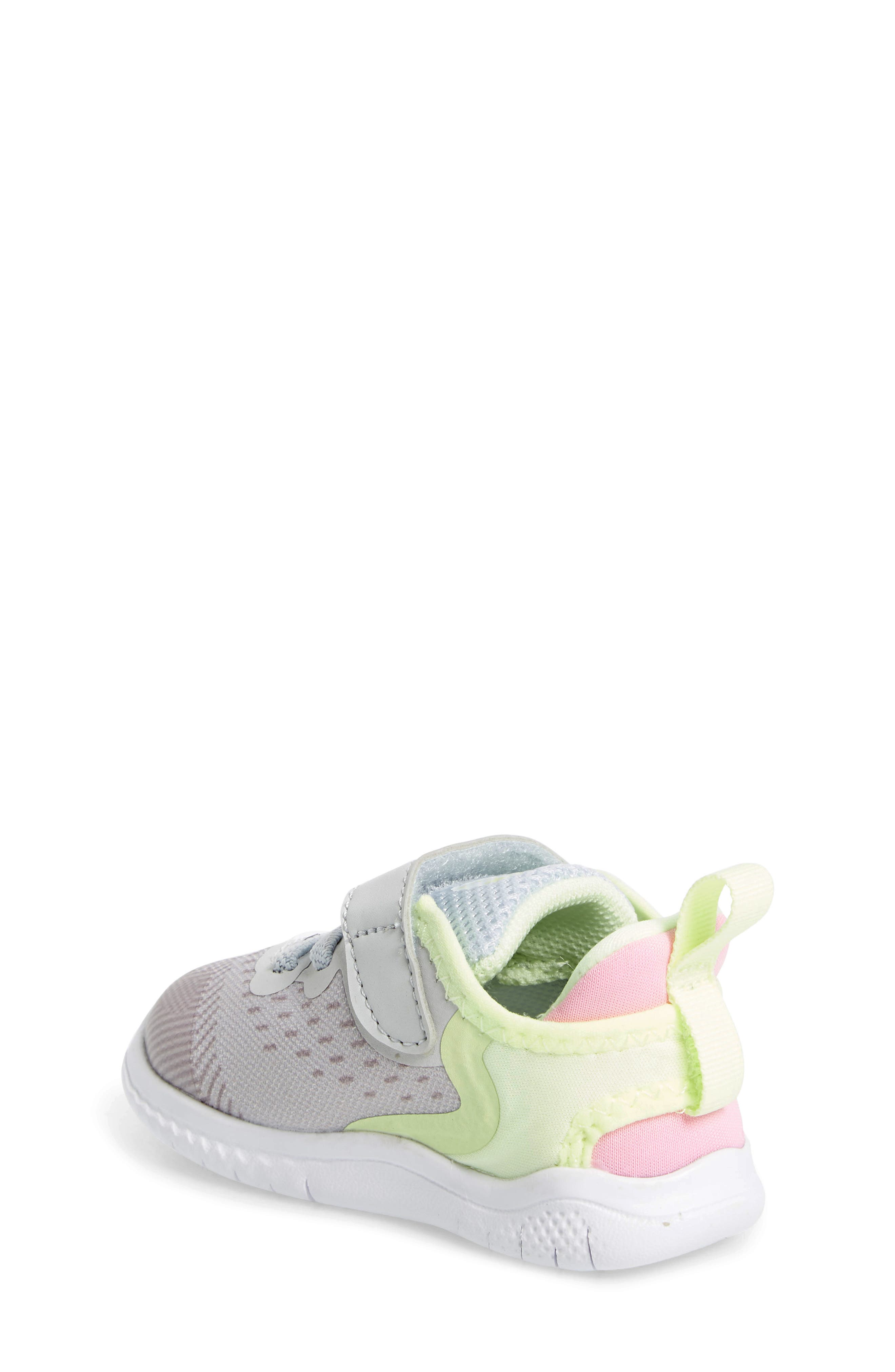 NIKE, Free RN Running Shoe, Alternate thumbnail 2, color, PURE PLATINUM/ PINK RISE-VOLT
