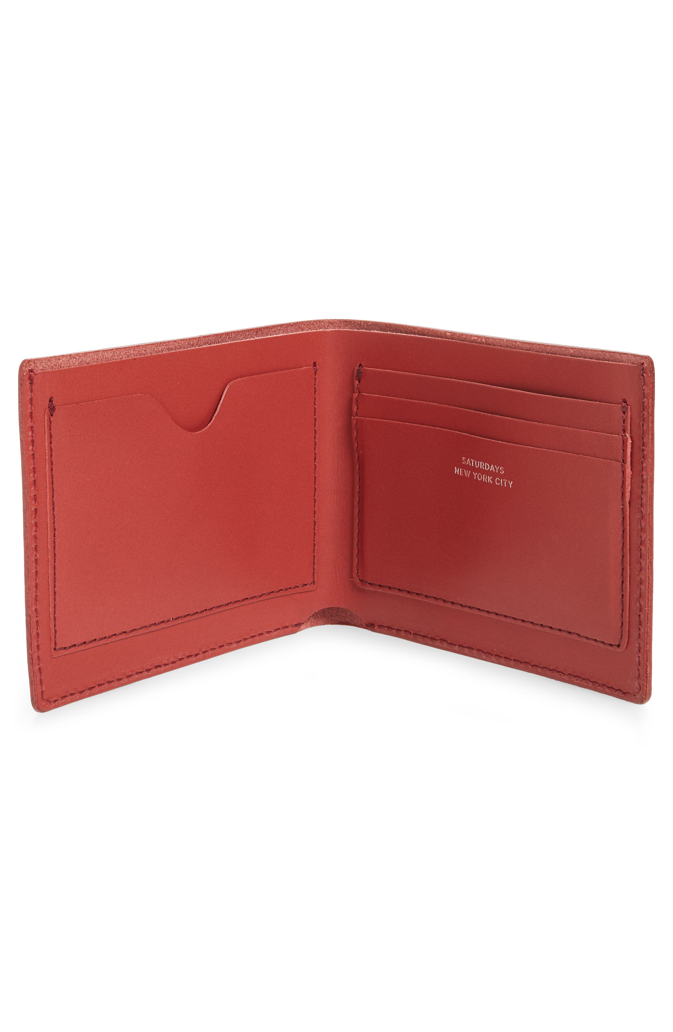 SATURDAYS NYC, Bifold Leather Wallet, Alternate thumbnail 2, color, TRUE RED