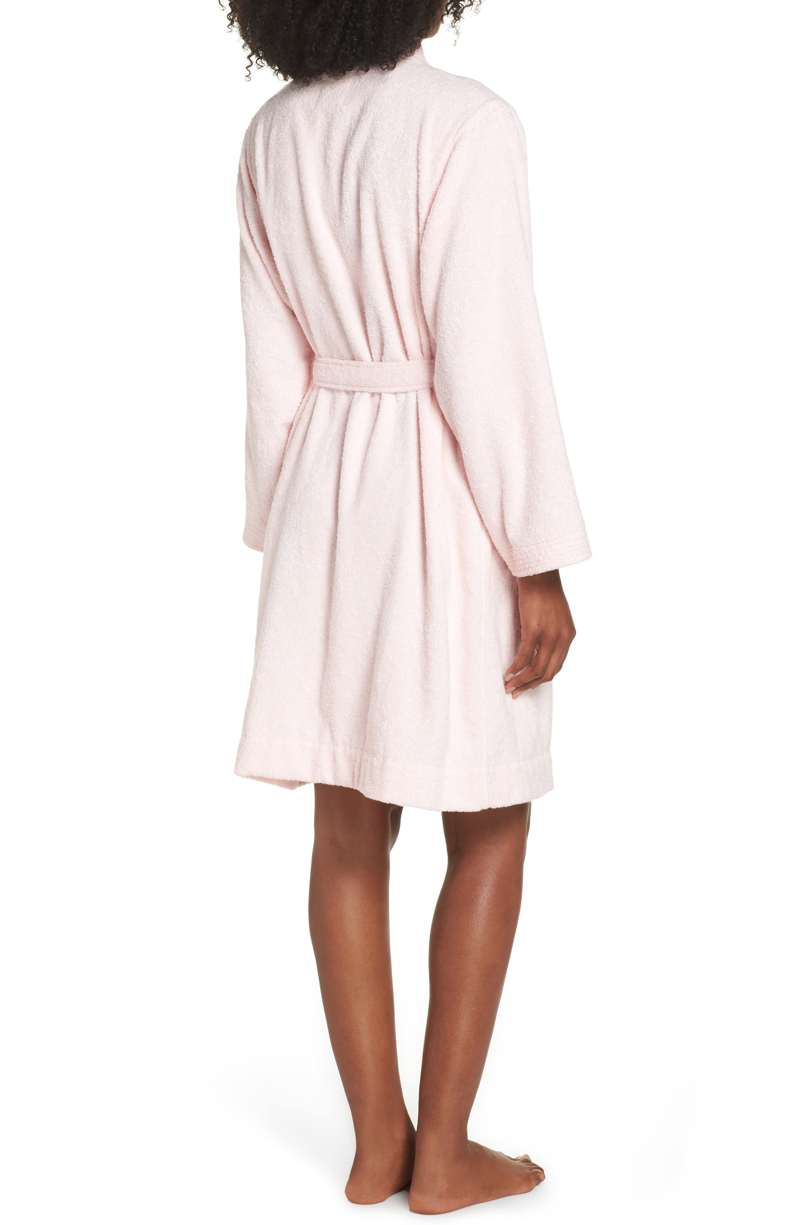 UGG<SUP>®</SUP>, Lorie Terry Short Robe, Alternate thumbnail 2, color, SEASHELL PINK