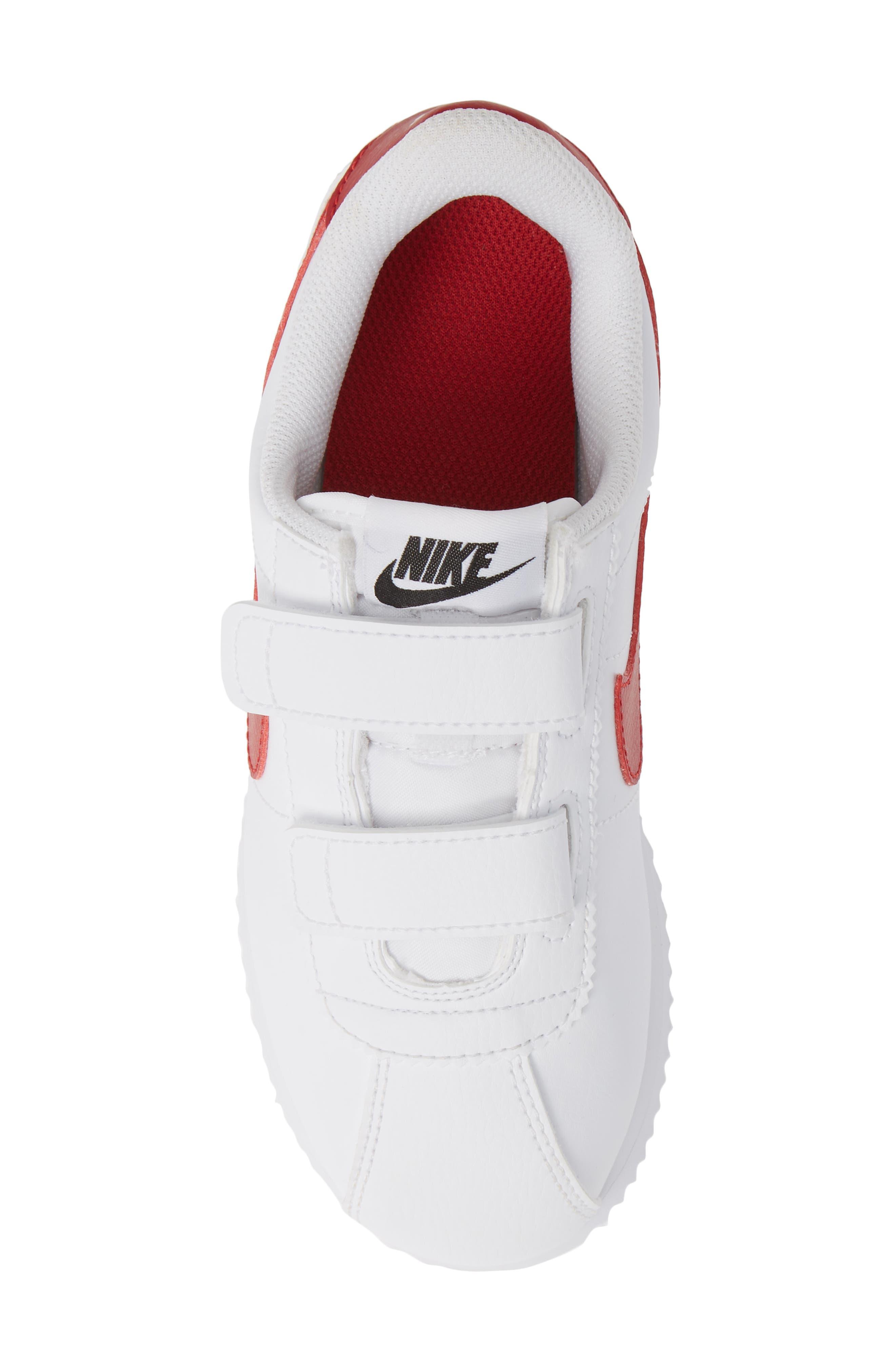NIKE, Cortez Basic SL Sneaker, Alternate thumbnail 5, color, WHITE/ VARSITY RED/ BLACK