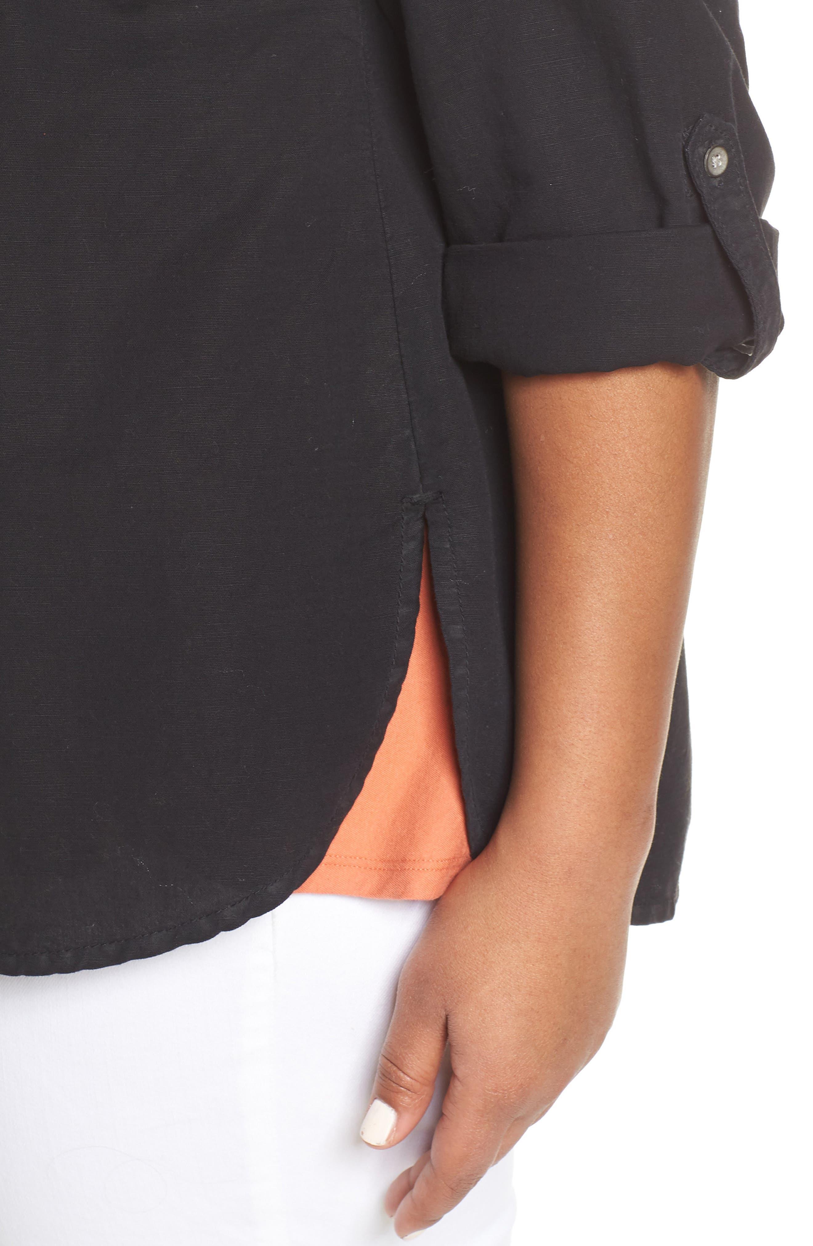 CASLON<SUP>®</SUP>, Long Sleeve Top, Alternate thumbnail 5, color, BLACK