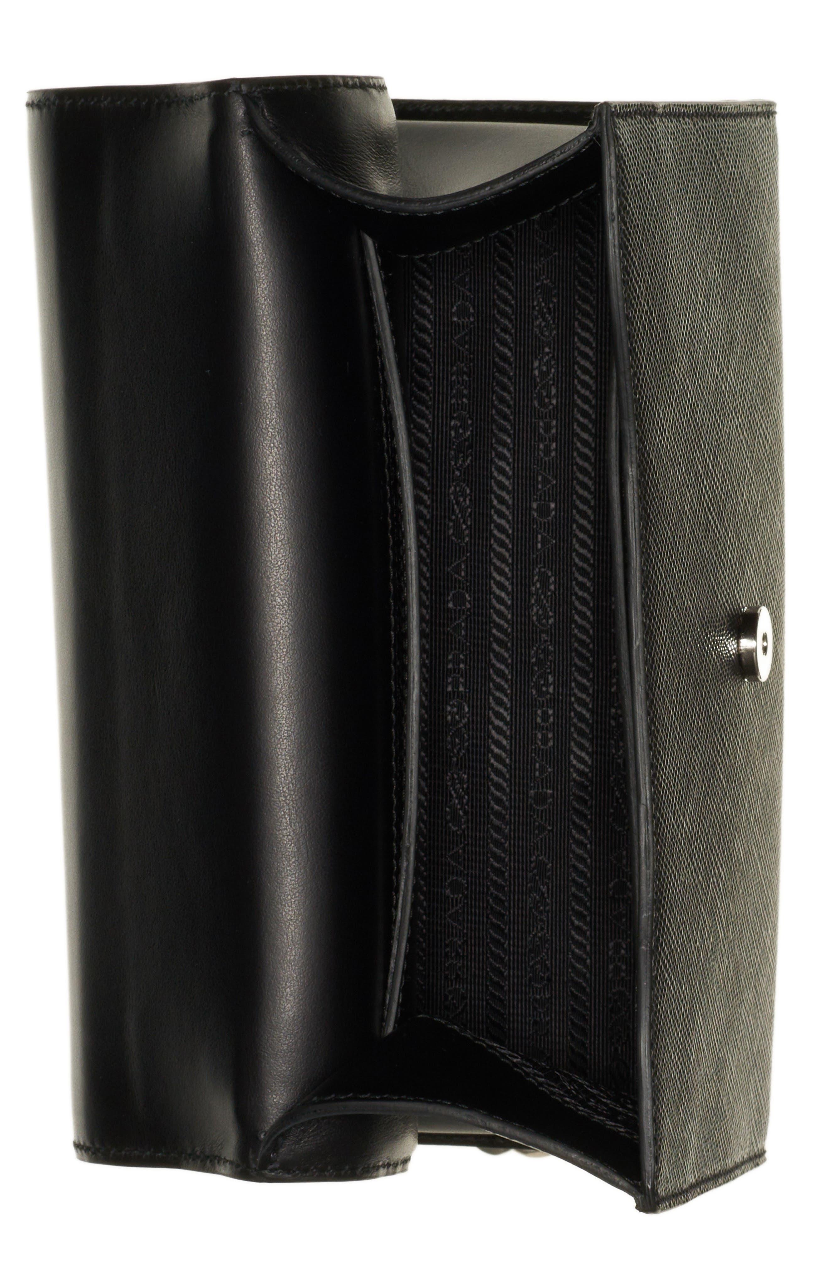 PRADA, Monochrome Saffiano Leather Shoulder Bag, Alternate thumbnail 3, color, NERO