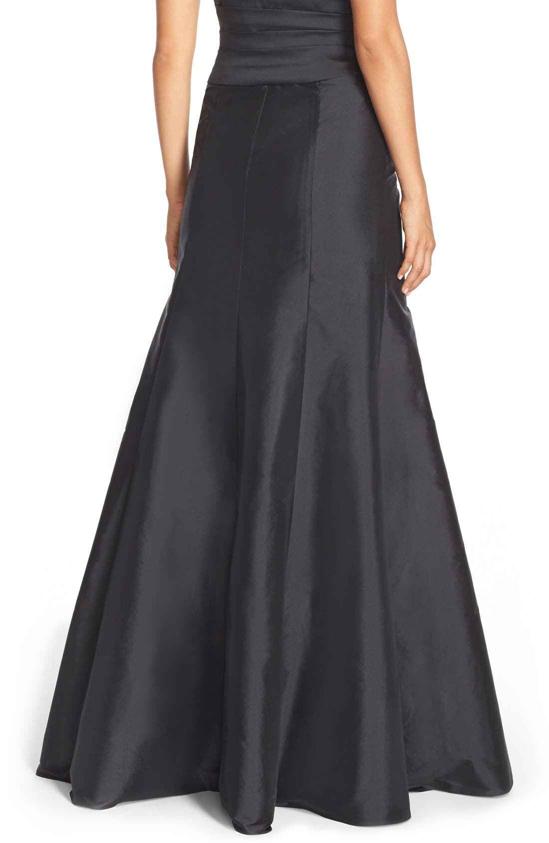 MONIQUE LHUILLIER BRIDESMAIDS, Floor Length Taffeta Mermaid Skirt, Alternate thumbnail 3, color, 001