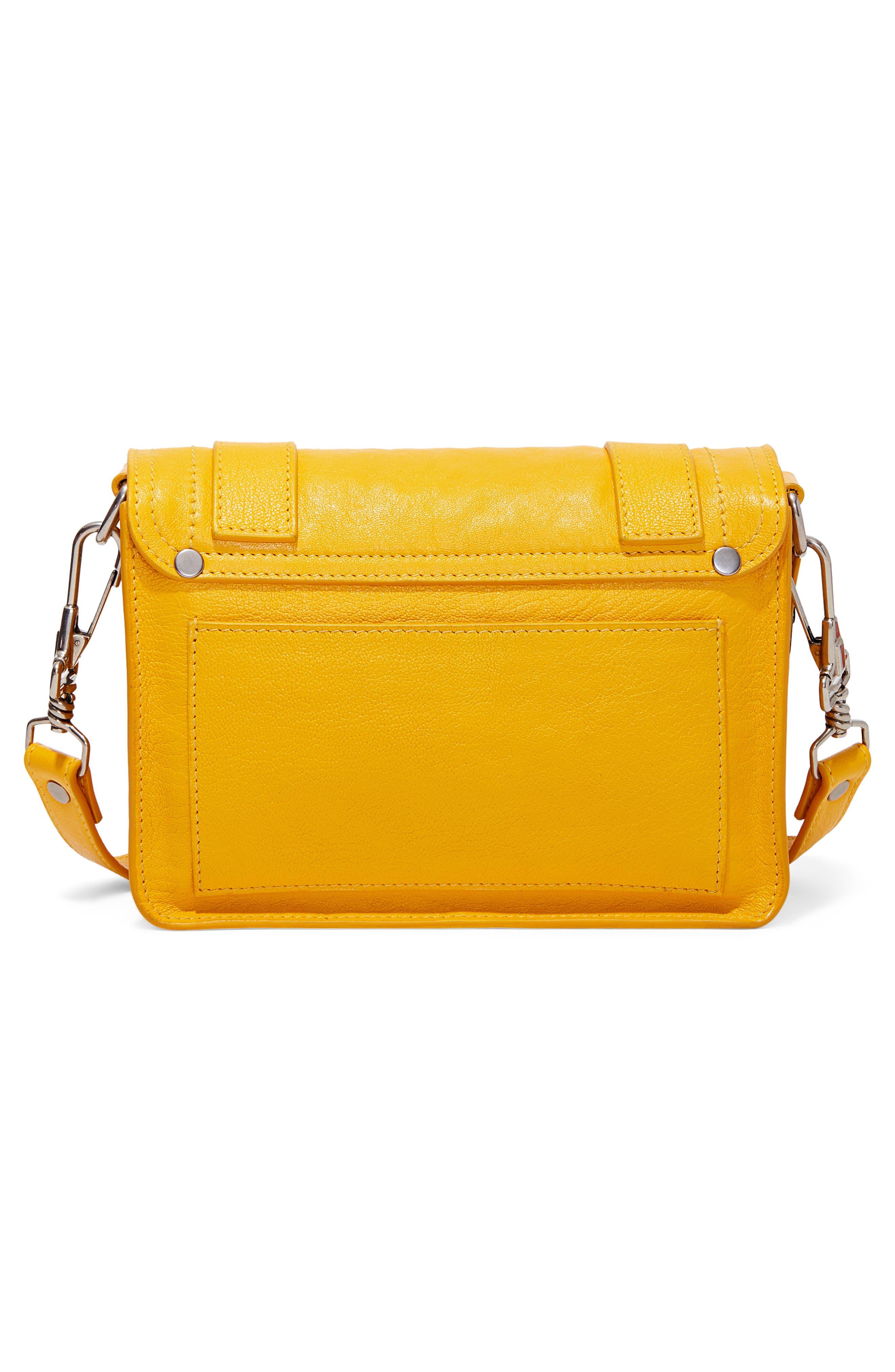 PROENZA SCHOULER, 'Mini PS1' Lambskin Leather Crossbody Bag, Alternate thumbnail 3, color, LEMON CHROME